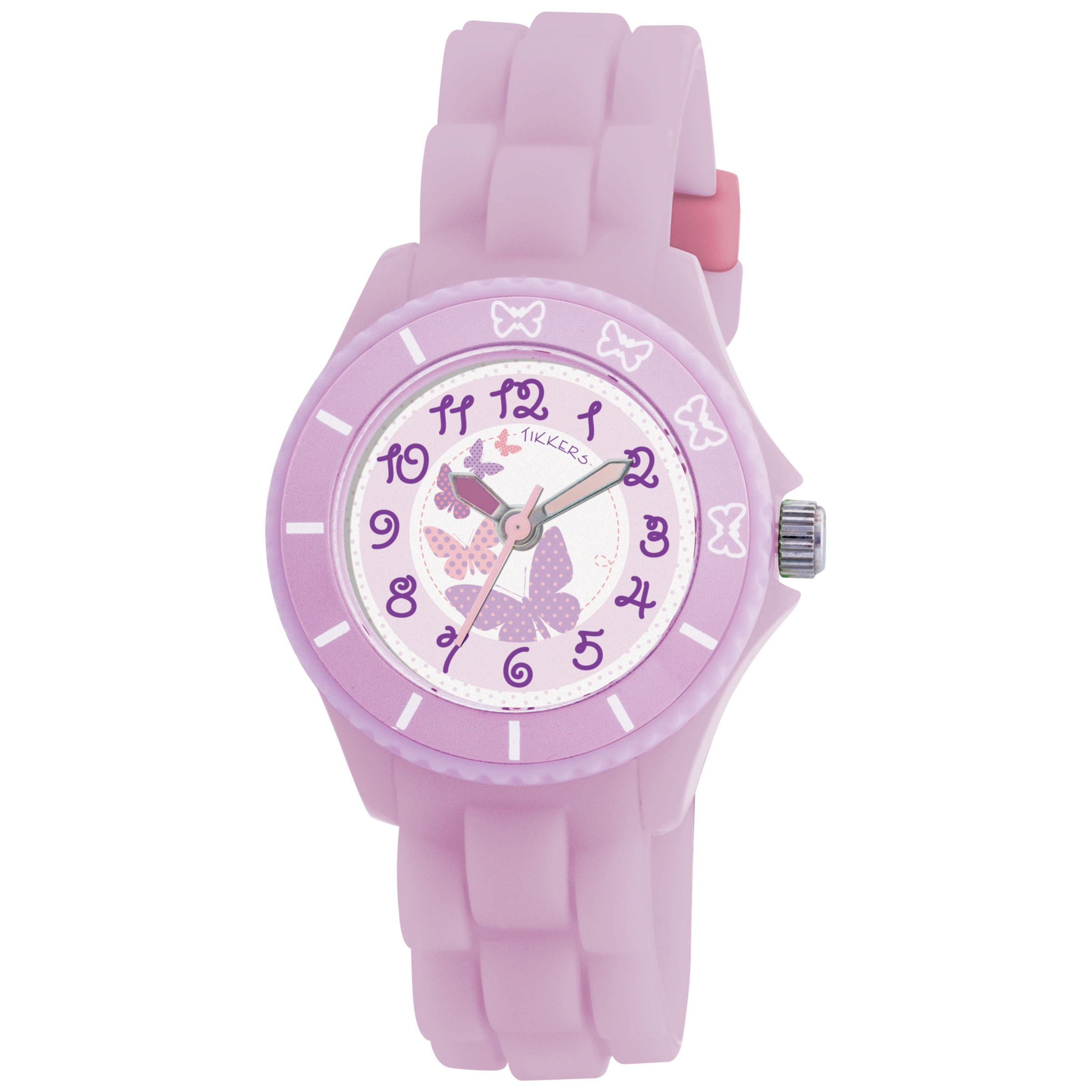 Tikkers TK0020 Kids Butterfly Rubber Strap Watch, Lavender