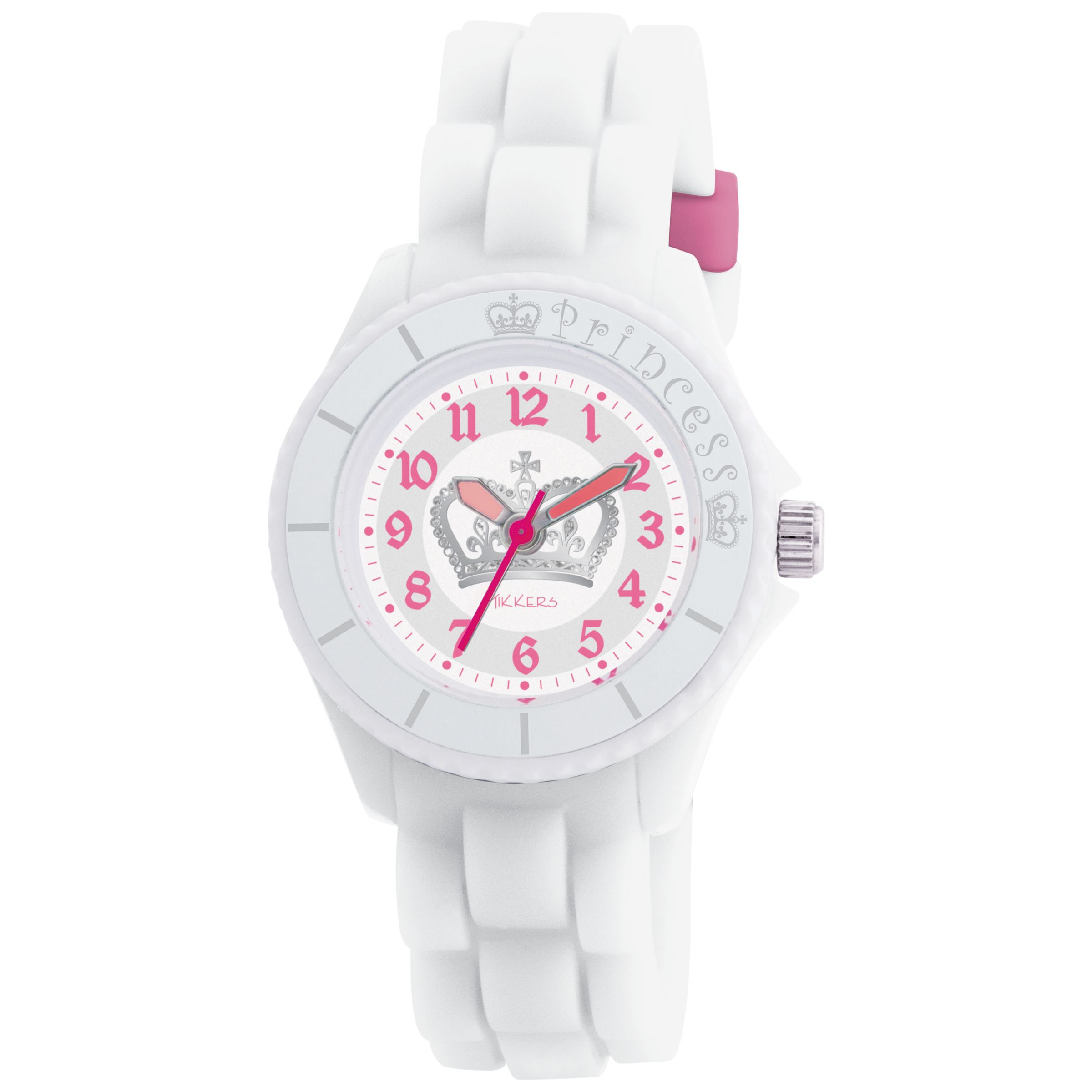 Tikkers TK0022 Kids Crown Rubber Strap with Pink Accents Watch, White