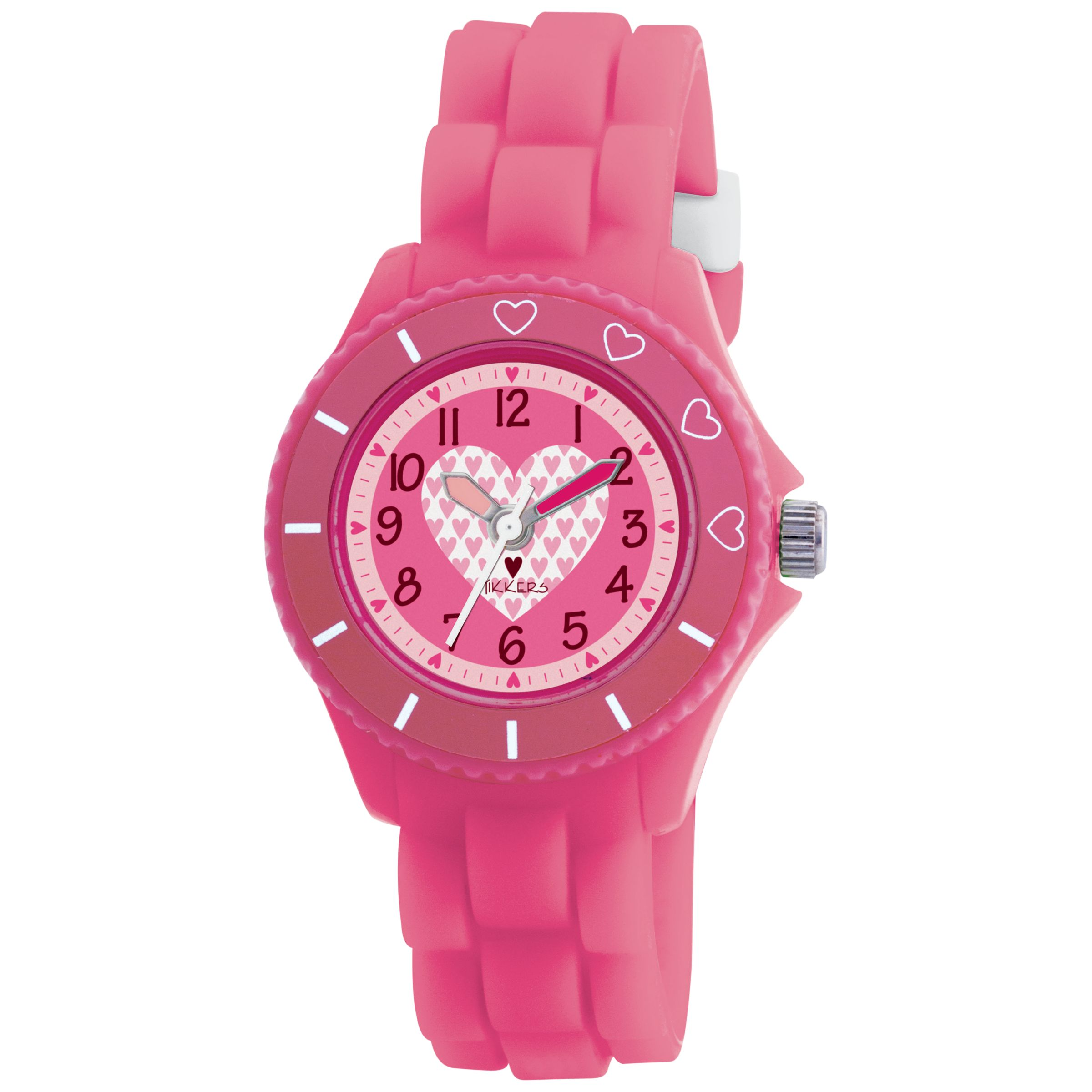 Tikkers TK0023 Kids Heart Rubber Strap Watch, Pink