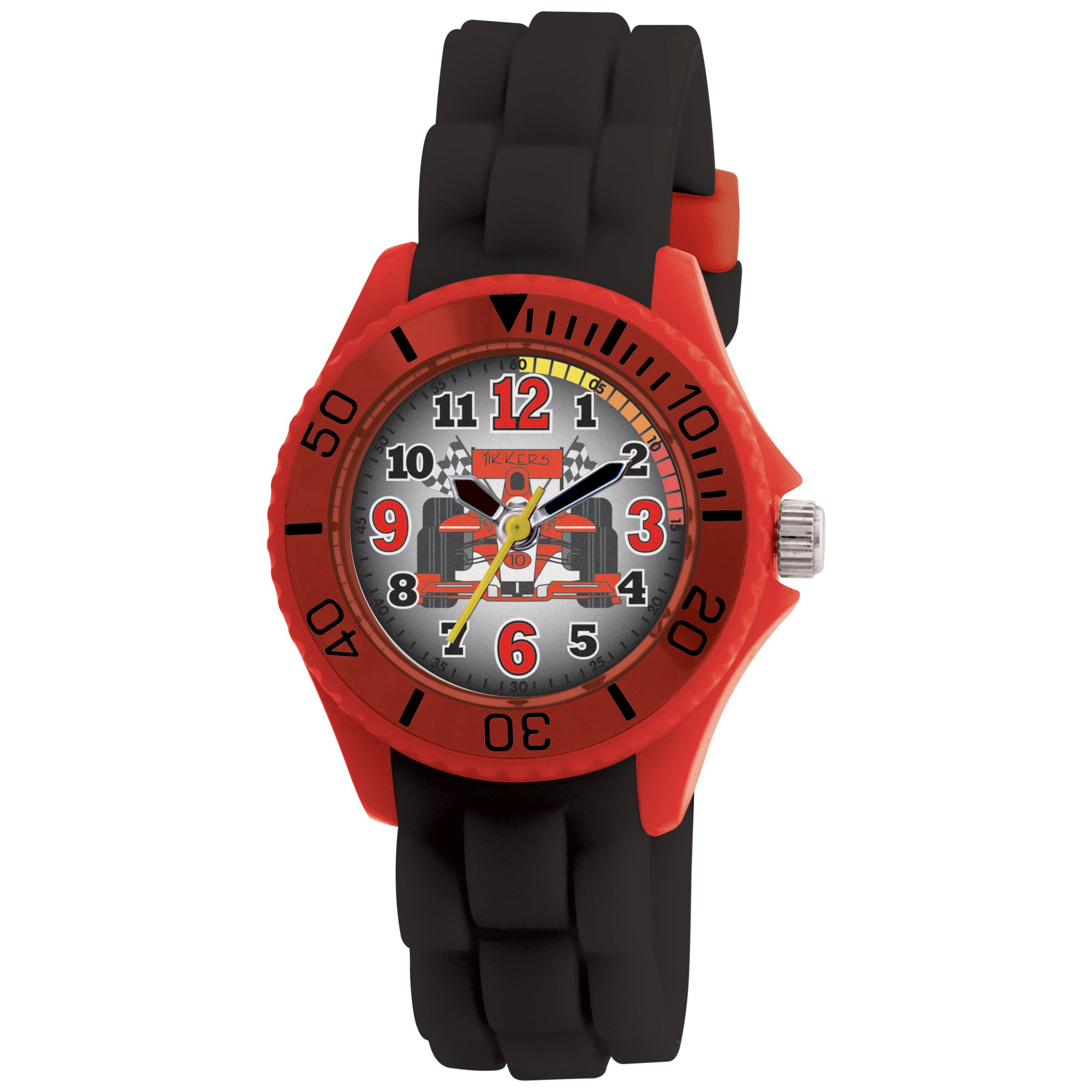 Tikkers TK0024 Kids Racecar Rubber Strap Watch, Black