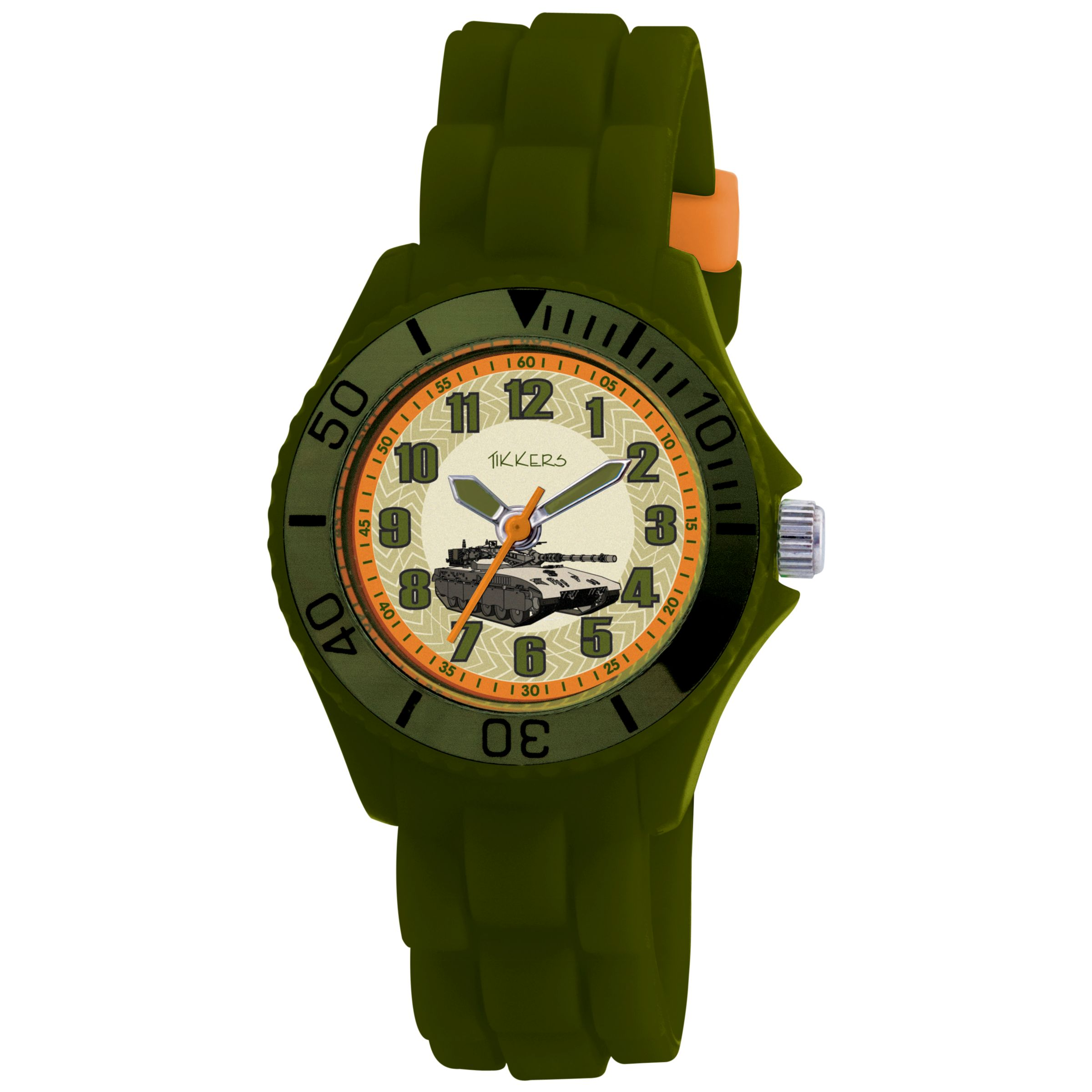 Tikkers TK0027 Kids Truck Rubber Strap Watch, Green
