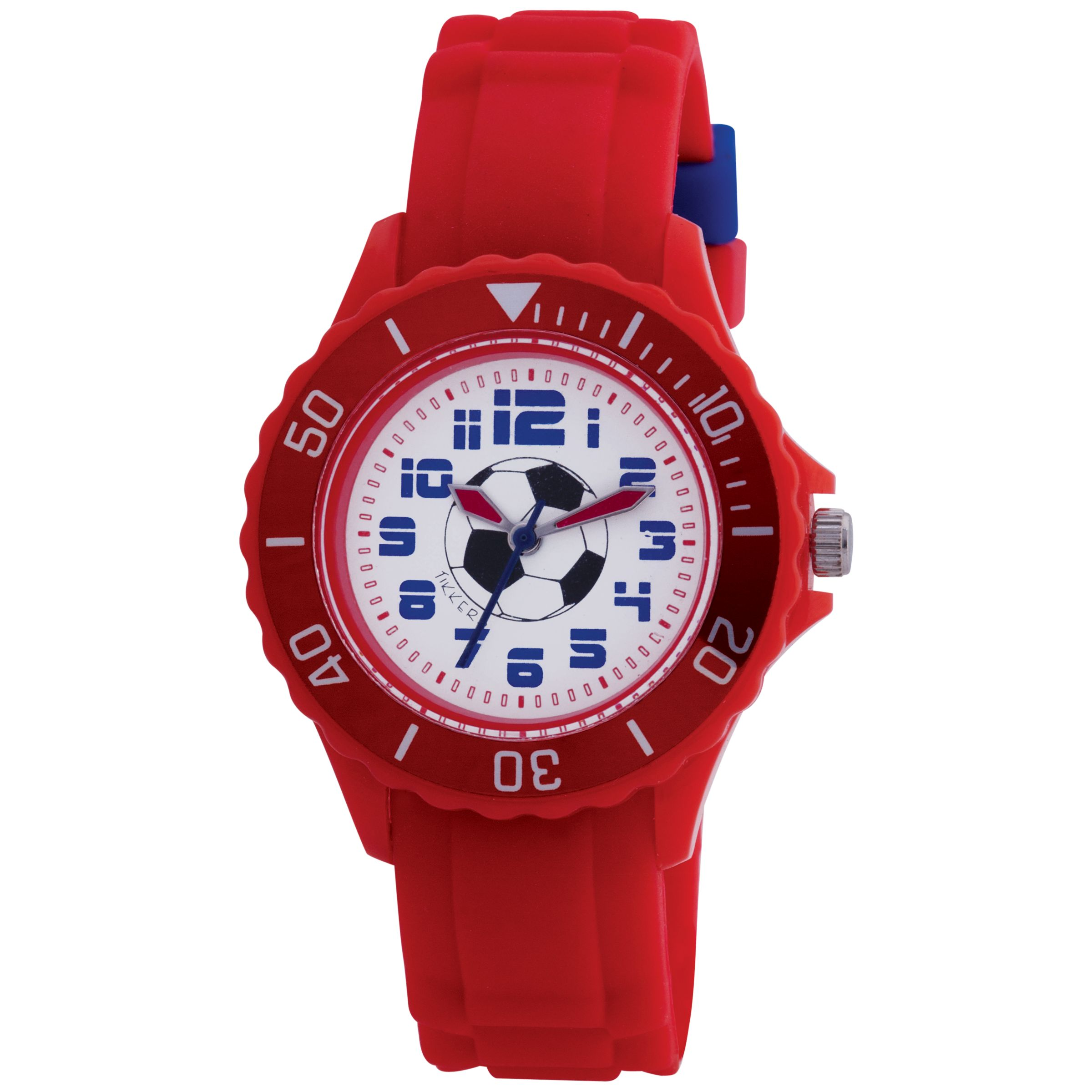 Tikkers TK0028 Kids Football Rubber Strap Watch, Red