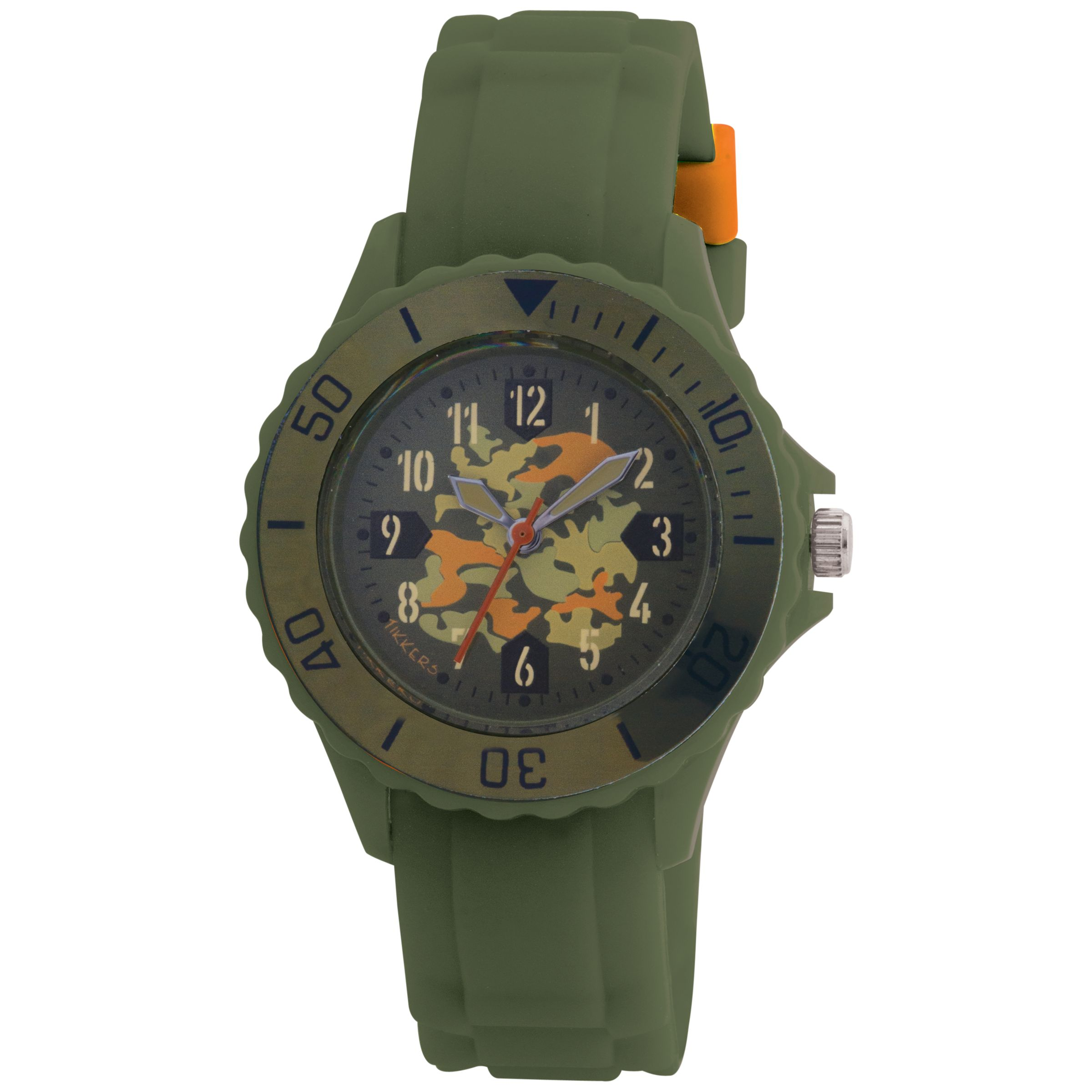 Tikkers TK0030 Kids Army Rubber Strap Watch, Green