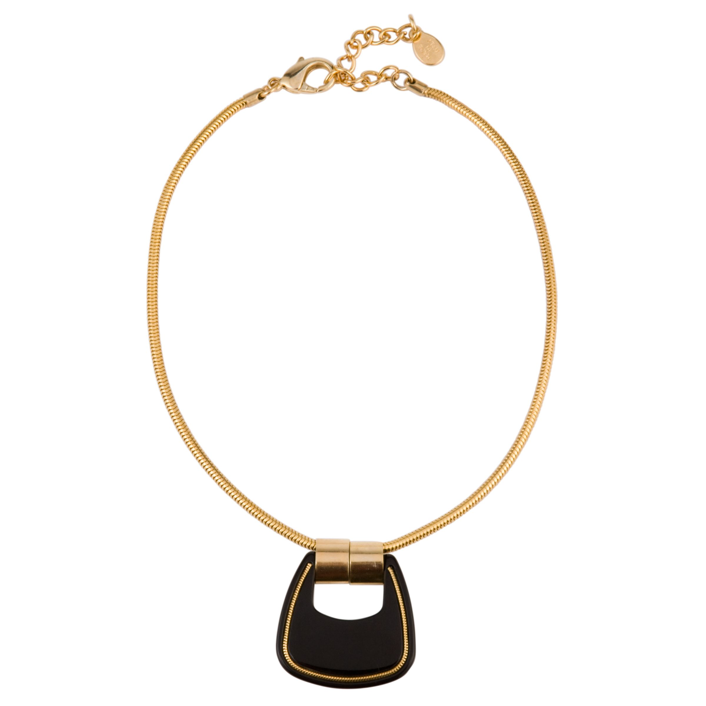COLLECTION, John Lewis Women Acrylic Gold Chain Black Pendant Necklace
