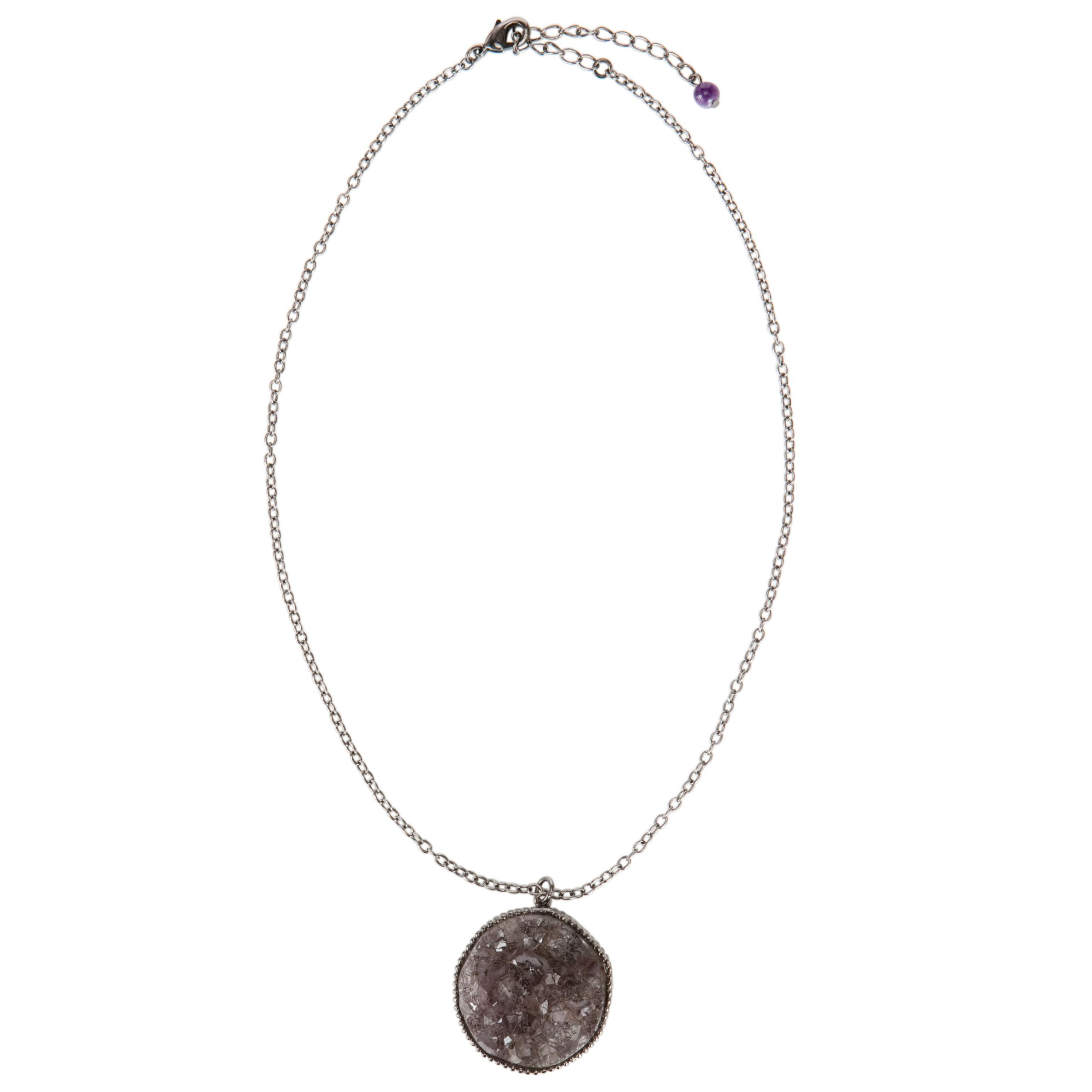 COLLECTION, John Lewis Women Grey Stone And Rhodium Pendant Necklace