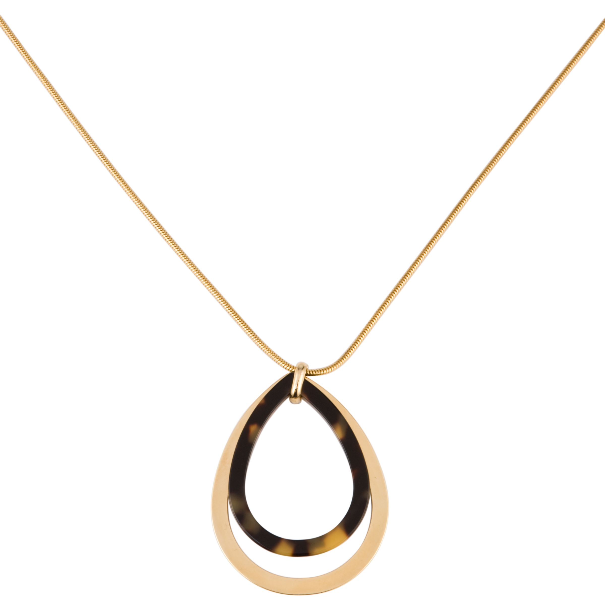 COLLECTION, John Lewis Women Teardrop Pendant Necklace, Tortoiseshell/Gold