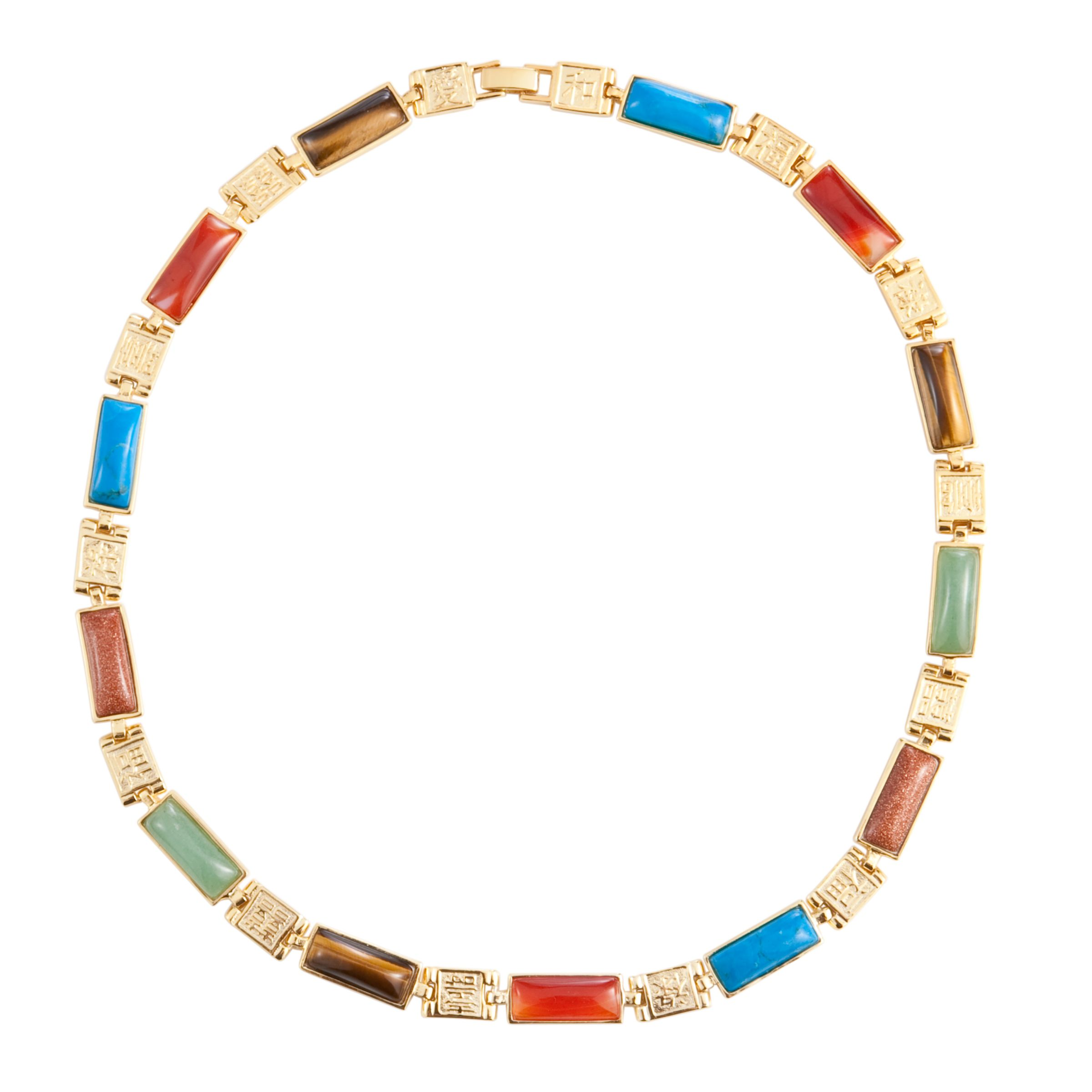 COLLECTION, John Lewis Women Vintage Rectangle Multicoloured Stone Necklace