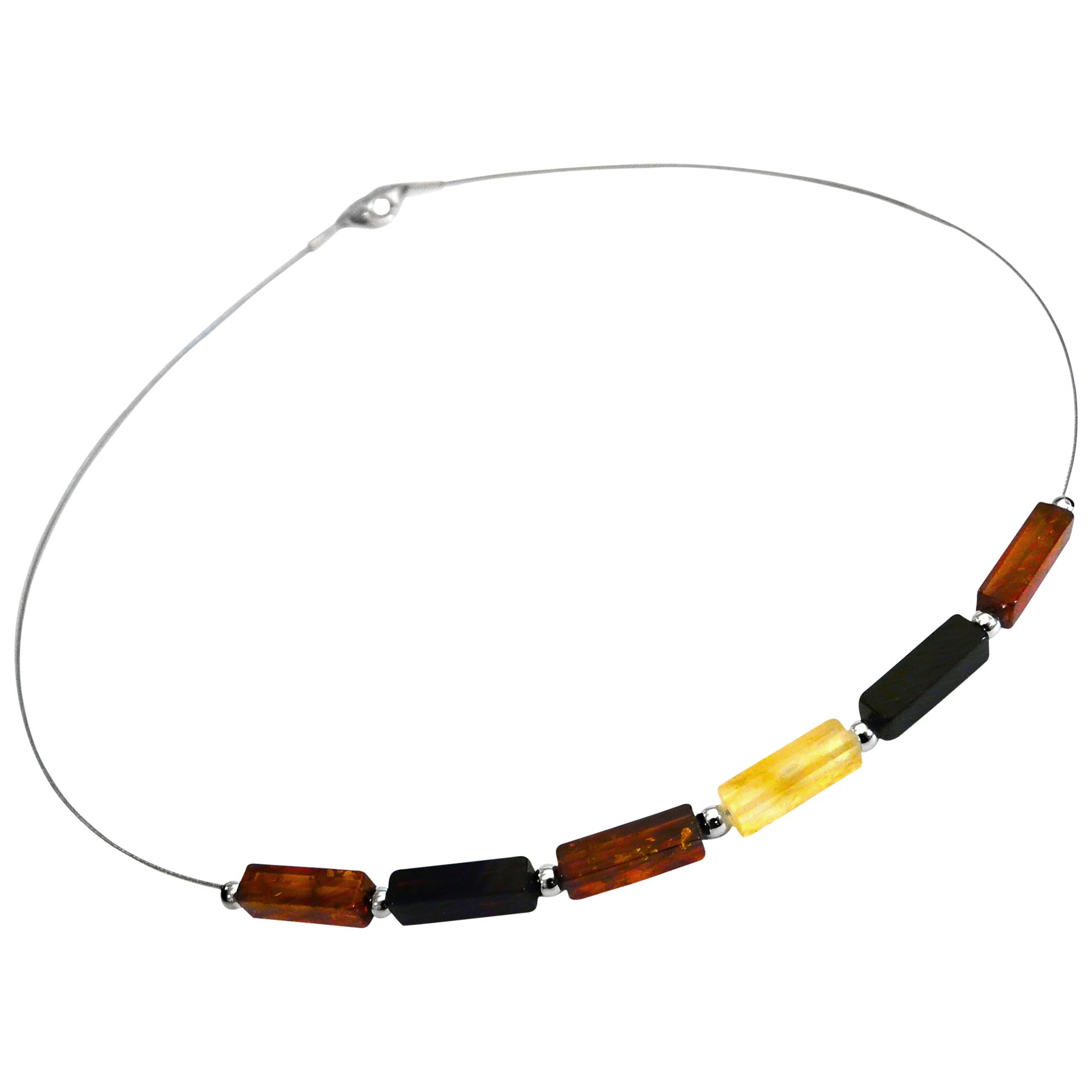 Goldmajor Amber Silver Multicolour Cube Bead Collar Necklace