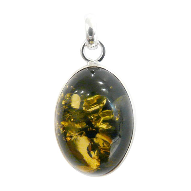 Goldmajor Oval Green Amber Silver Pendant Necklace