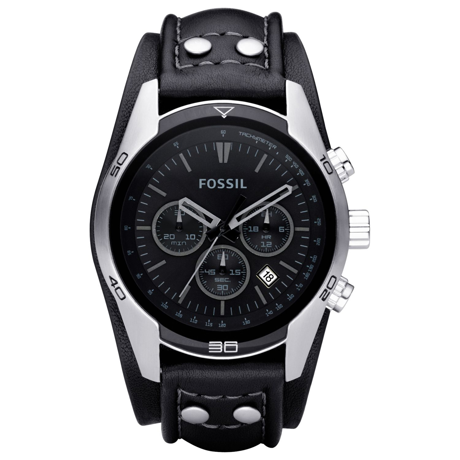 Fossil CH2586 Men's Chronograph Leather Strap Watch, Black
