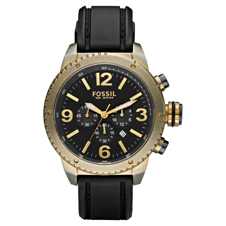 Fossil DE5007 Mens Vintaged Bronze Chronograph Leather Strap Watch
