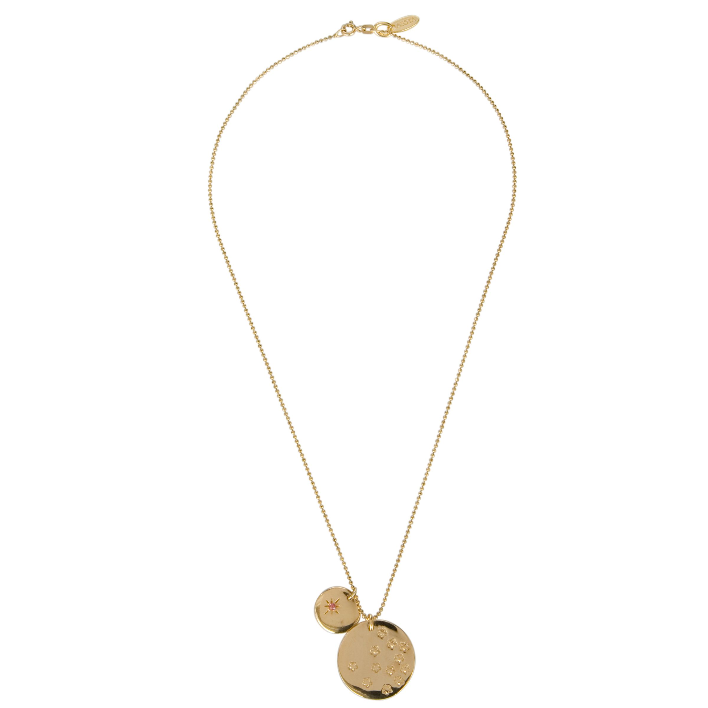 Assya Love Medium Disc Star 18ct Gold Plate Pendant Necklace