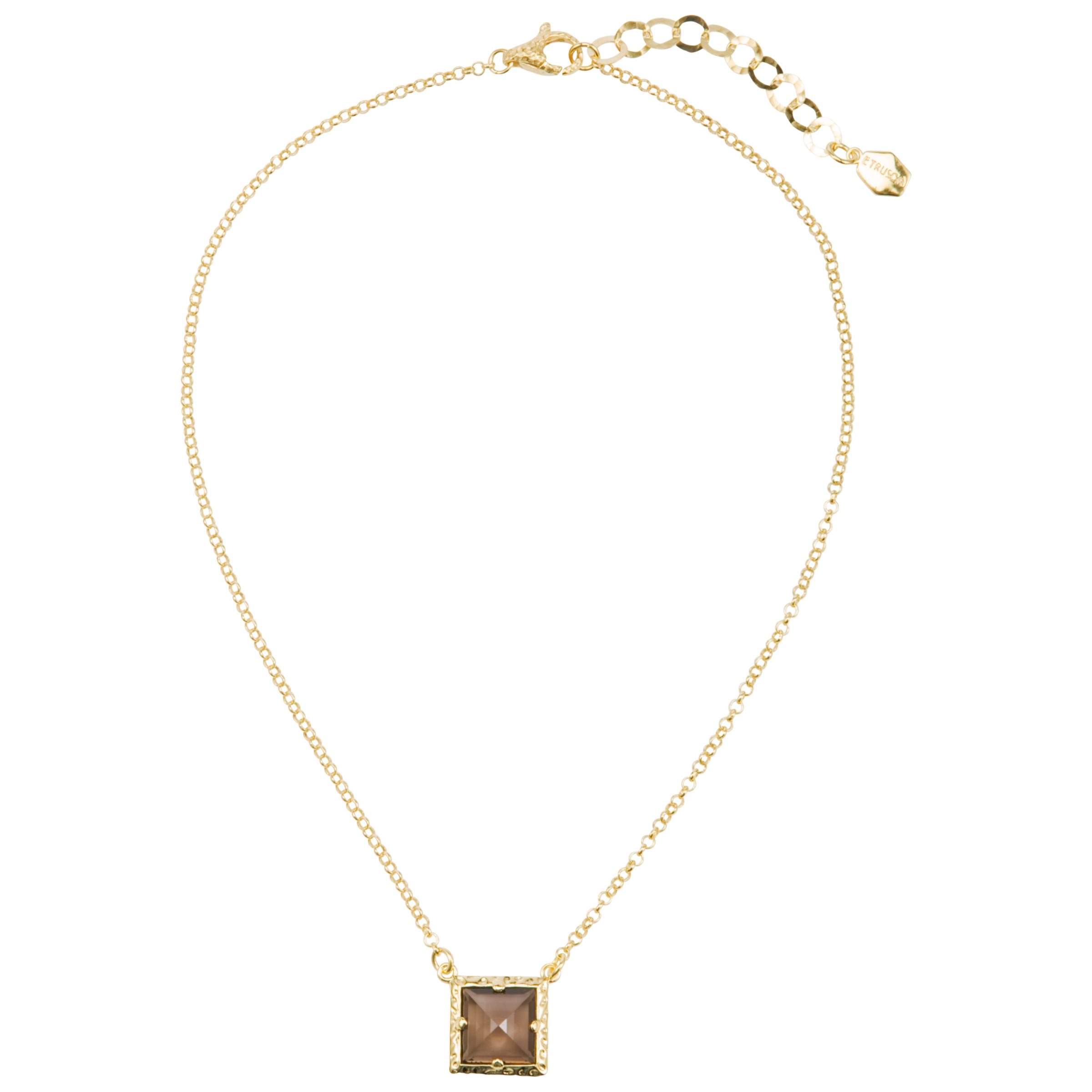 Etrusca 18ct Gold Plated Square Gemstone Pendant Necklace, Gold