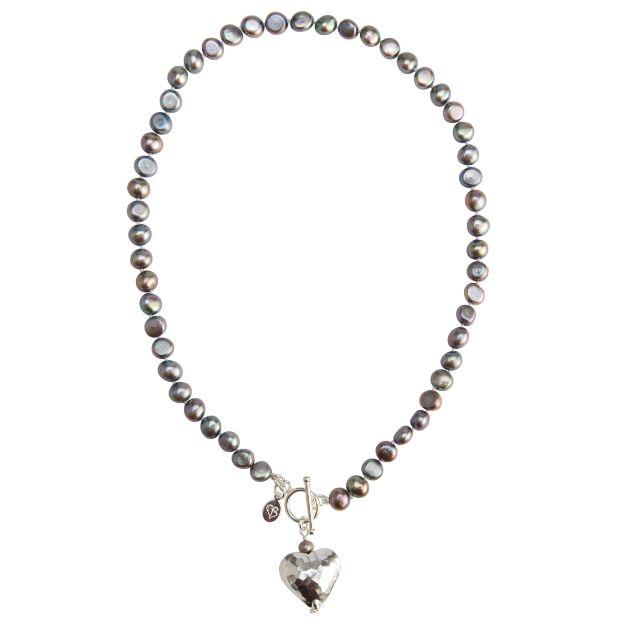 Claudia Bradby Battered Heart Pearl Necklace, Purple