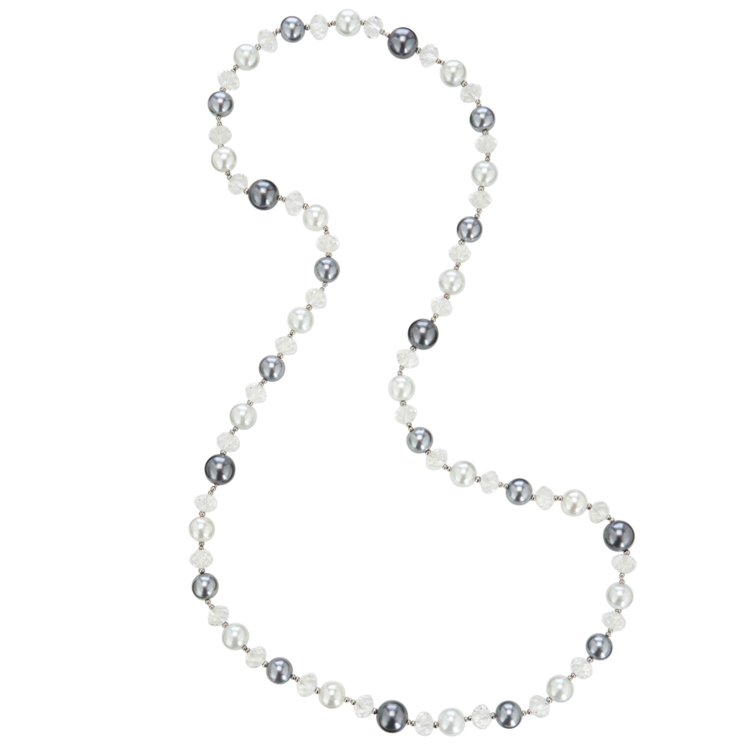 John Lewis Women Grey Pearl Clear Bead Long Necklace