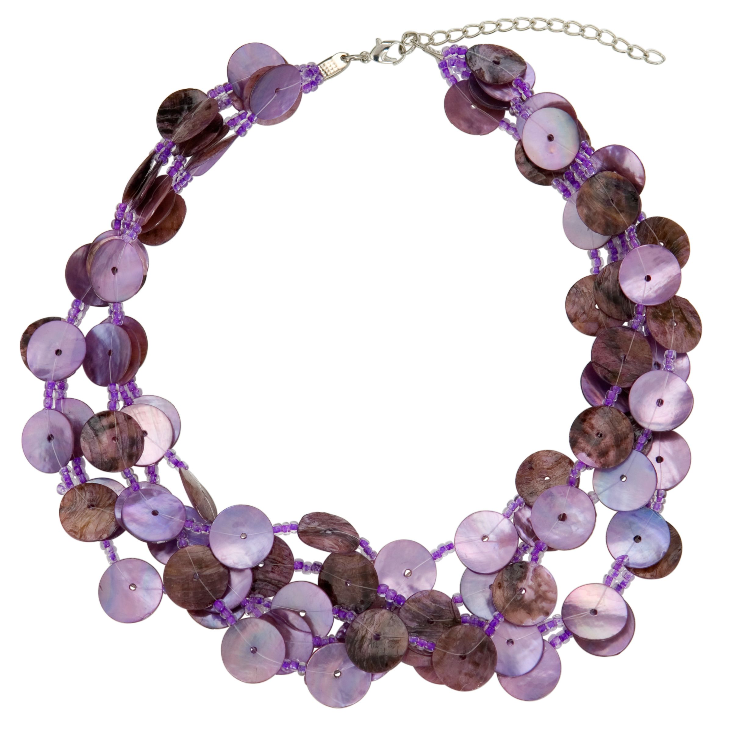 John Lewis Women Five Row Button Necklace, Purple