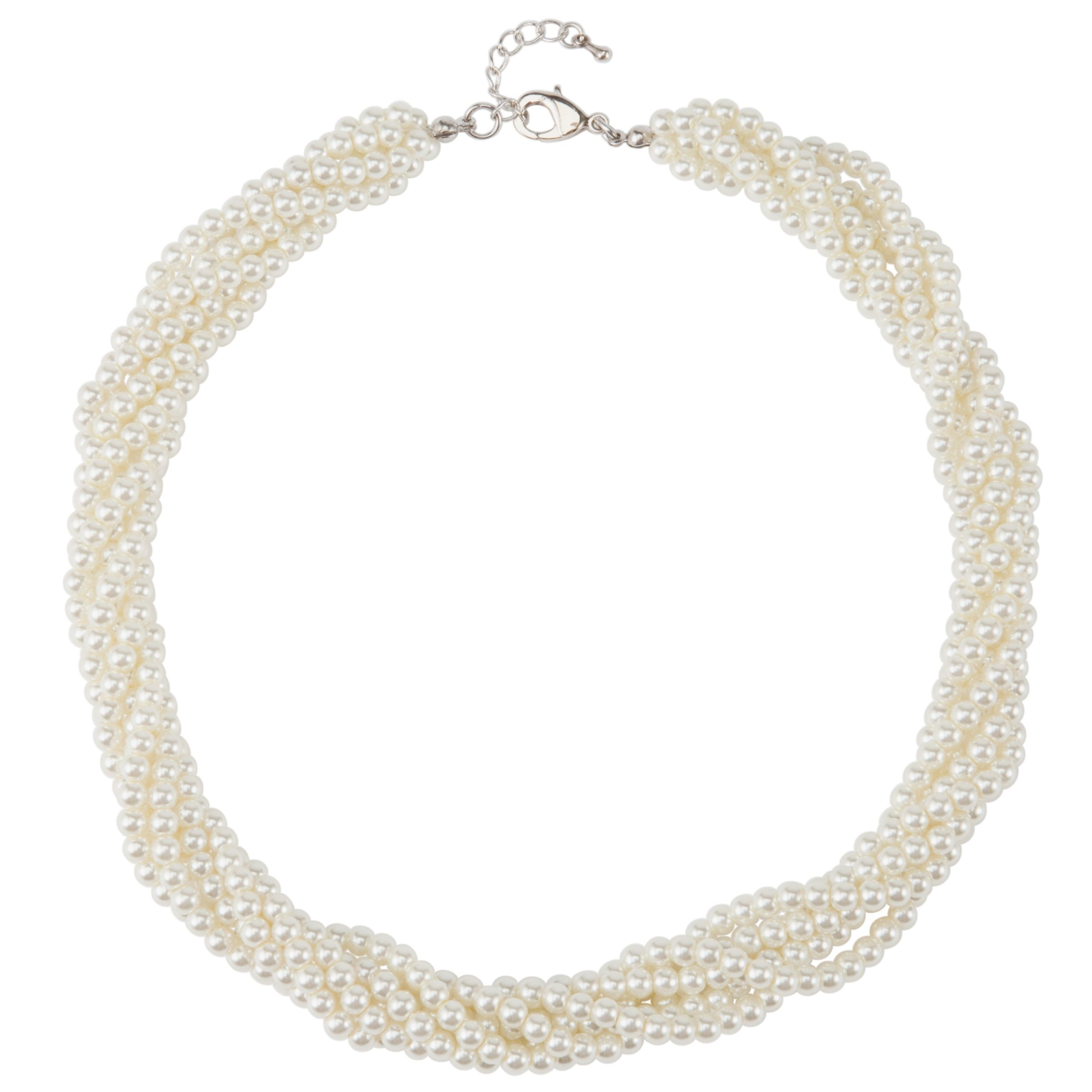 John Lewis Six Strand Twist Pearl Necklace, Cream