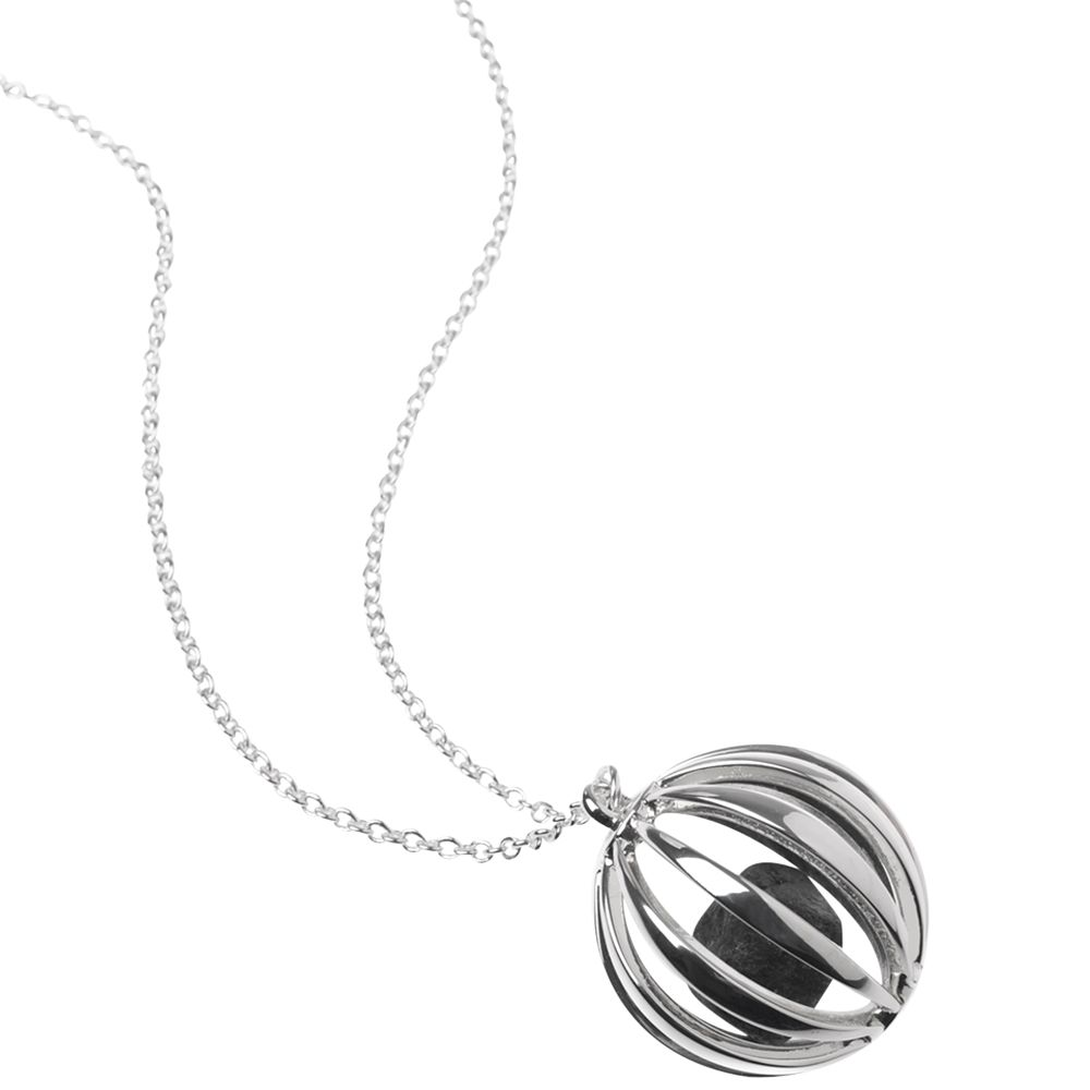Renaissance Life Ball with Swedish Stone Necklace, Silver
