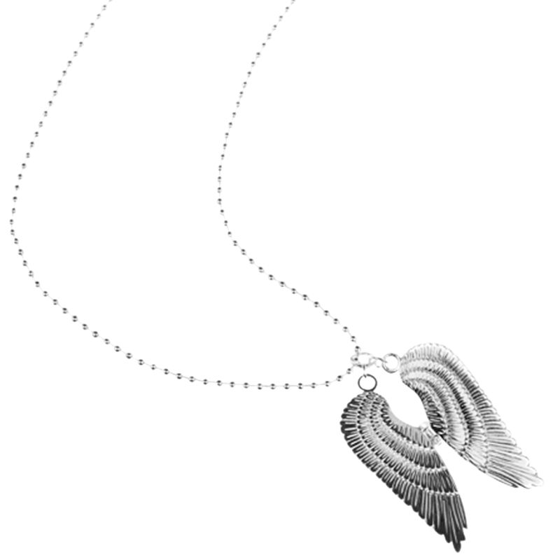 Renaissance Life Double Wing Necklace, Silver