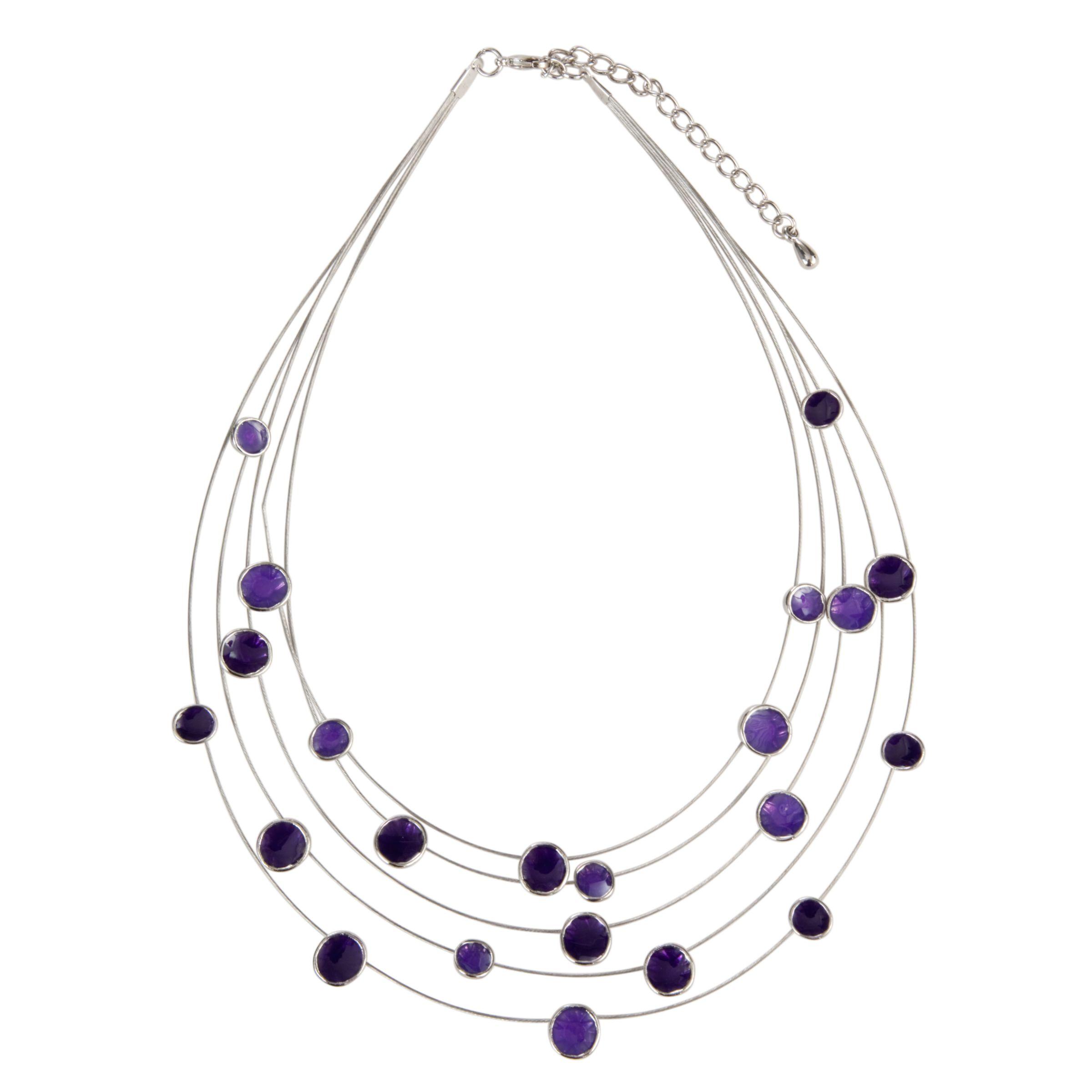 John Lewis Women 5-Row Illusion Necklace, Purple