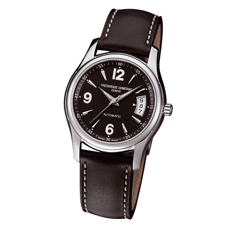 Frédérique Constant FC-303B4B26 Junior Automatic Black Dial Leather Strap Watch, Black
