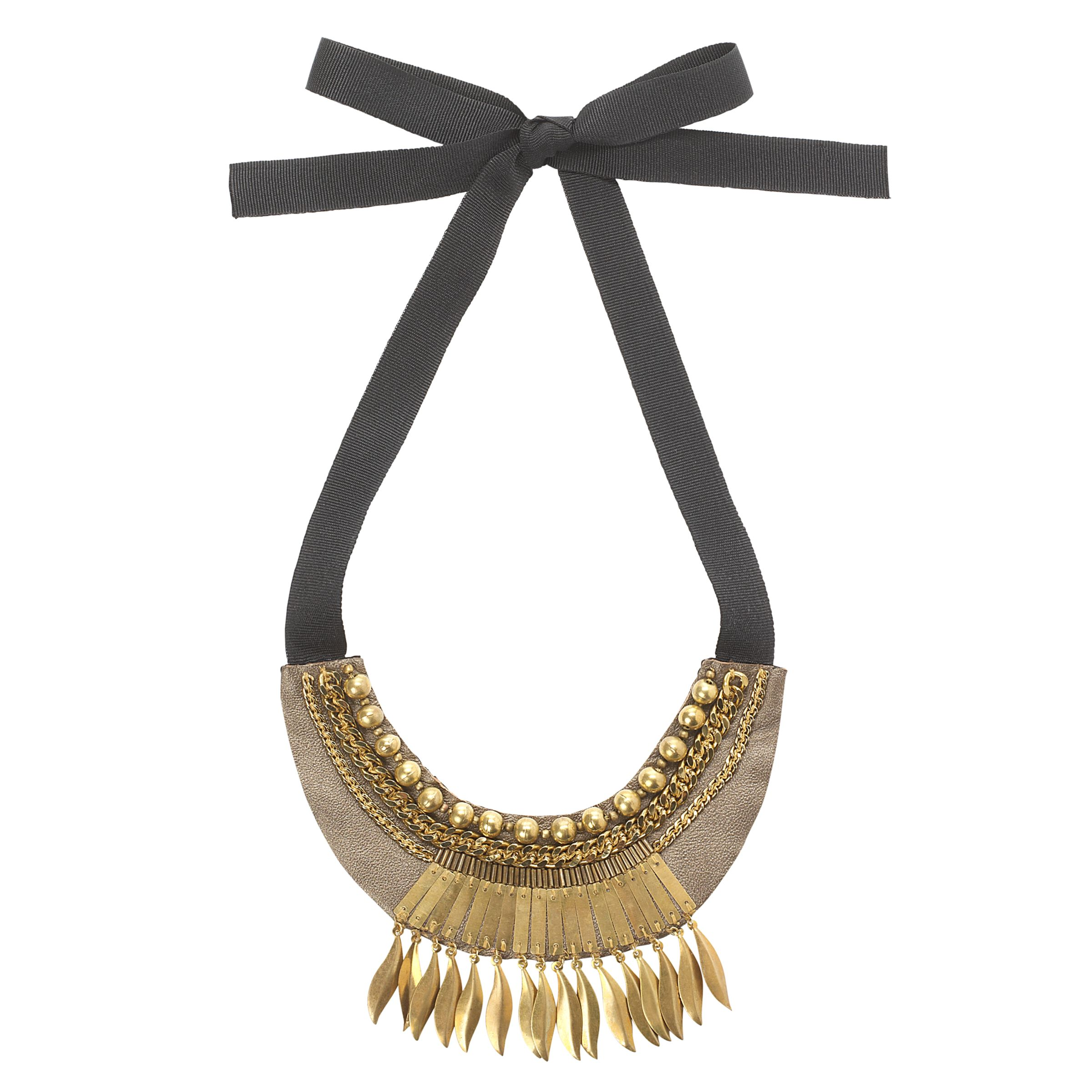 Fiona Paxton Lela Feather Collar Ribbon Tie Necklace