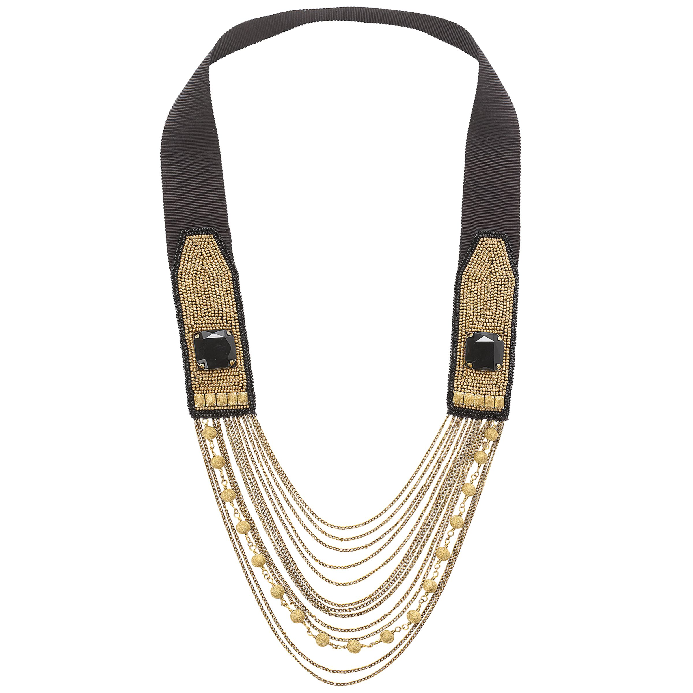 Fiona Paxton Maude Square Bead Multi Chain Necklace, Black/Gold