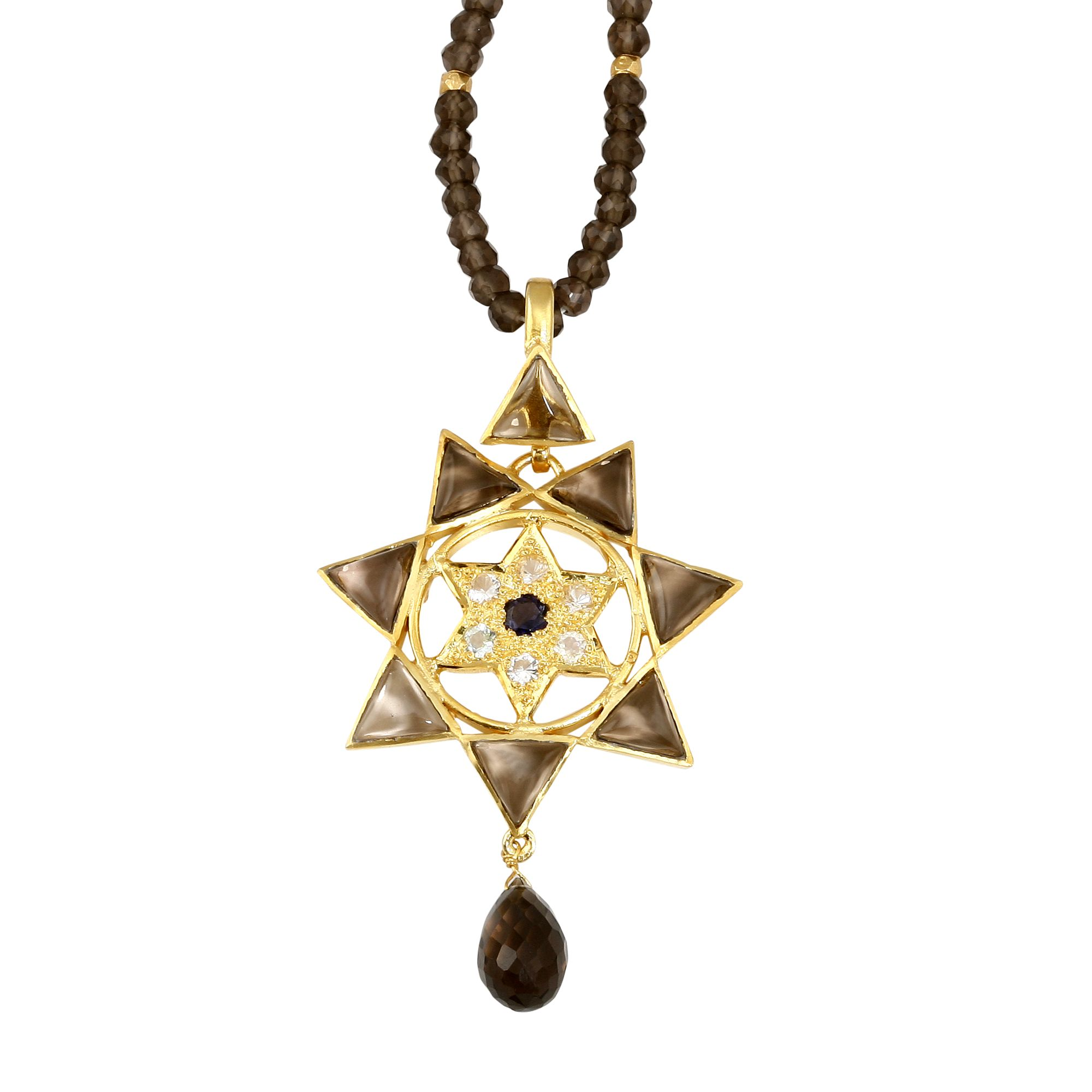 Emma Chapman Love Lakshmi Smokey Topaz Bead Pendant Necklace