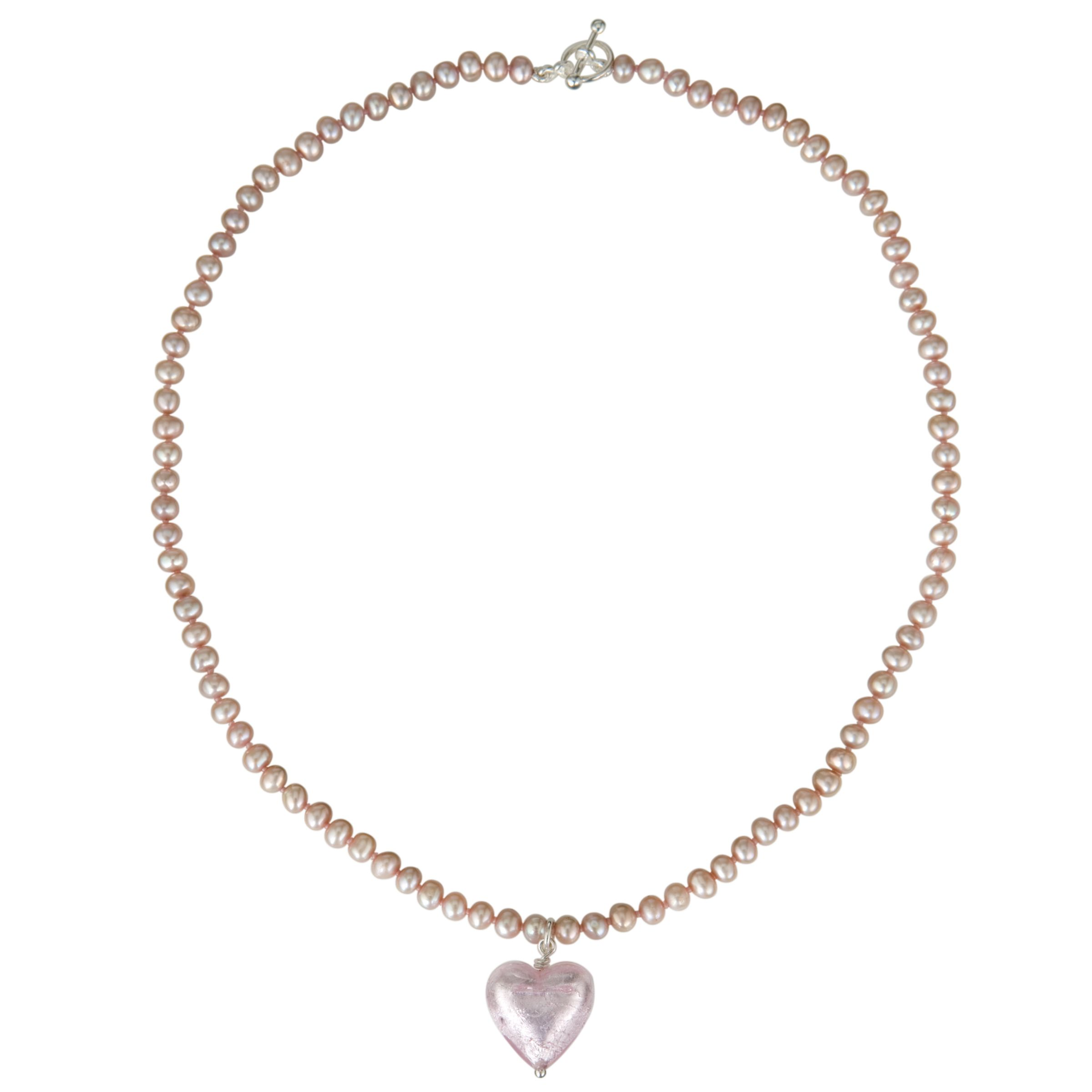 Martick Pearl Peach Murano Heart Necklace, Pink