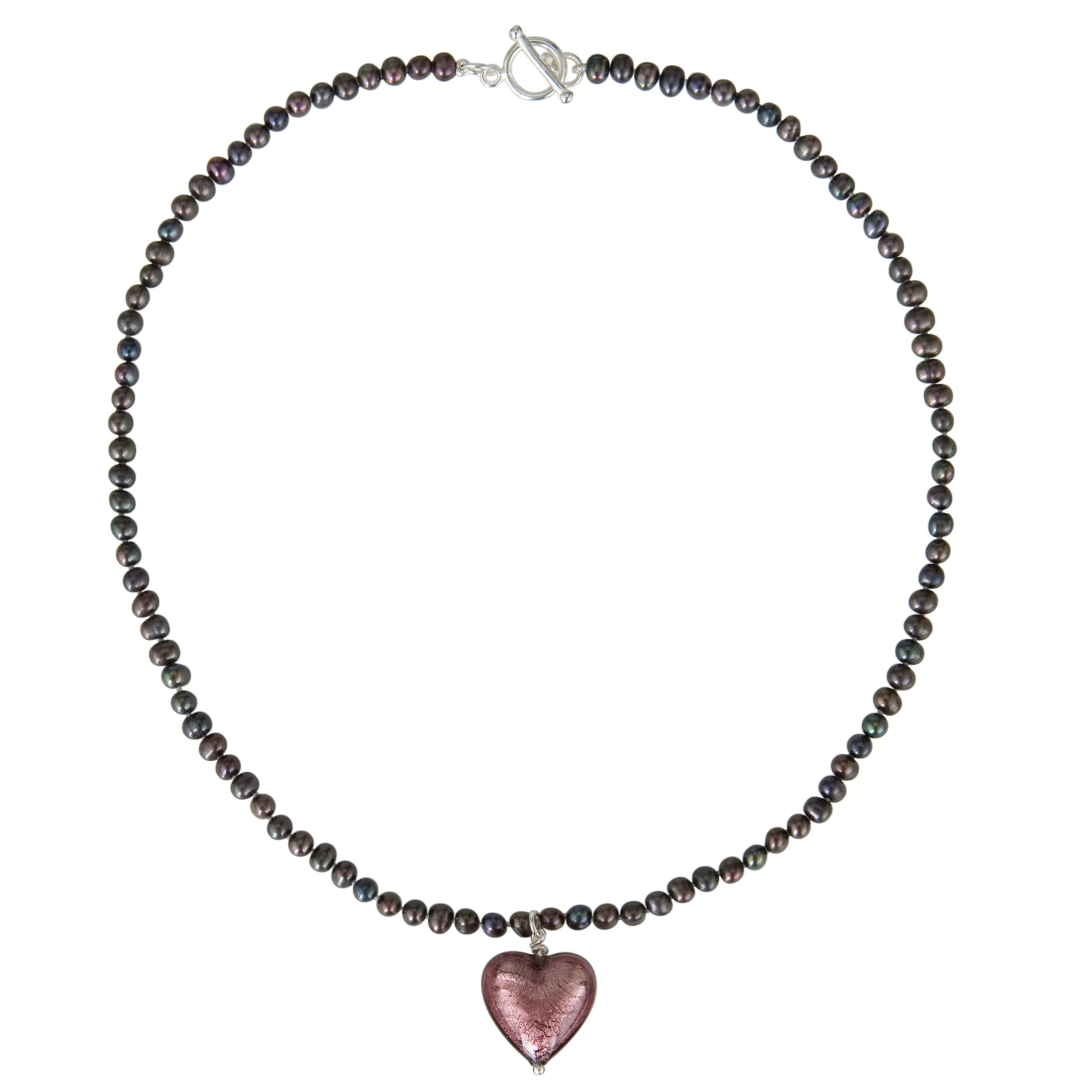 Martick Pearl - Peacock Pearl with Plum Murano Heart Necklace, Plum