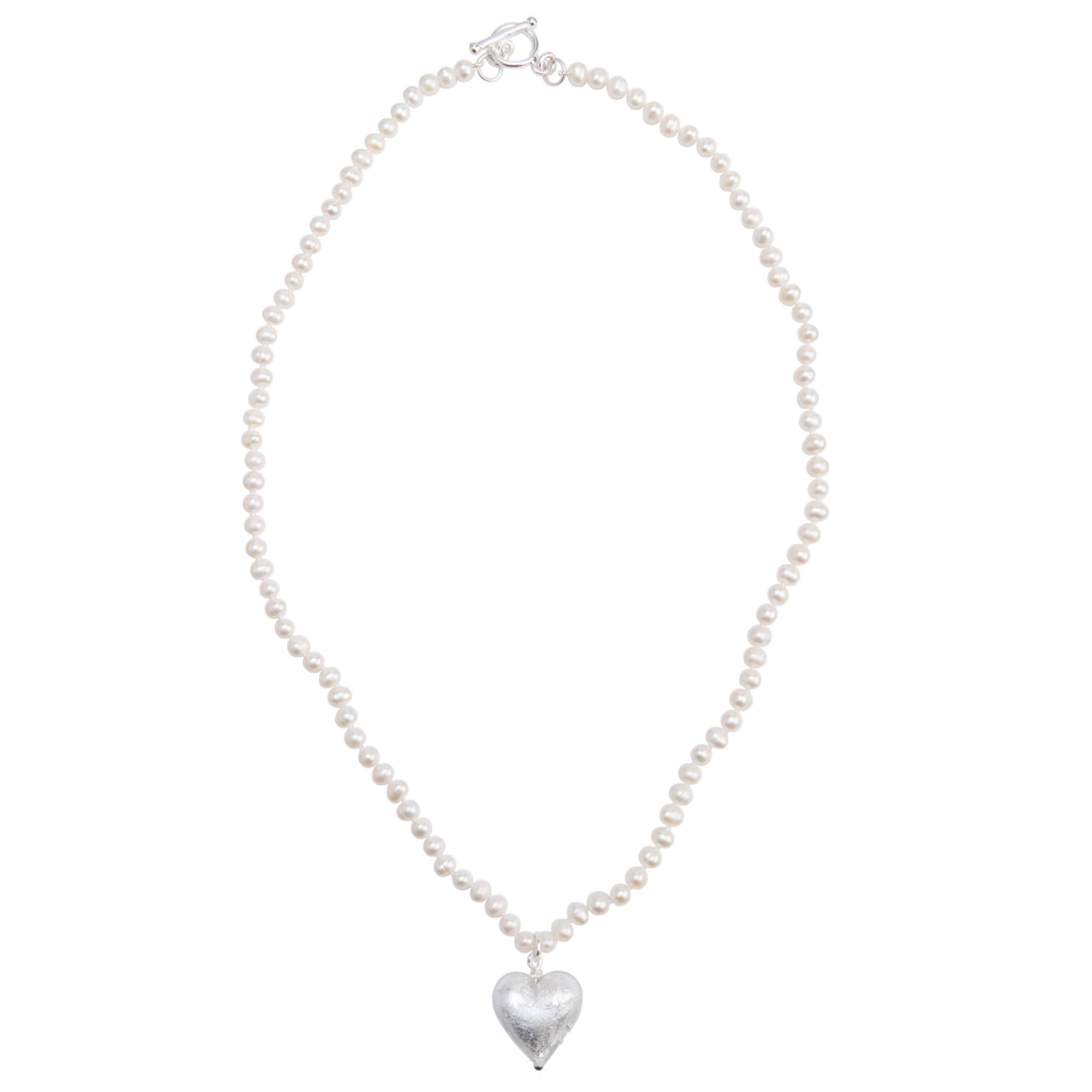 Martick White Pearl with Silver Murano Heart Necklace