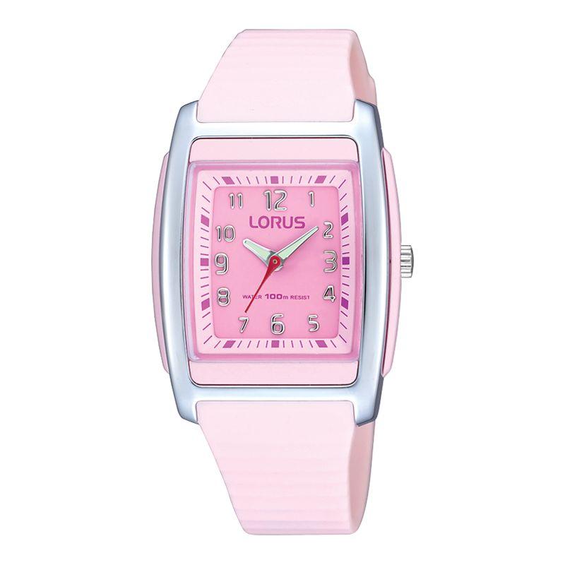 Lorus RRX89CX9 Kids Unisex Silicone Strap Watch, Pink