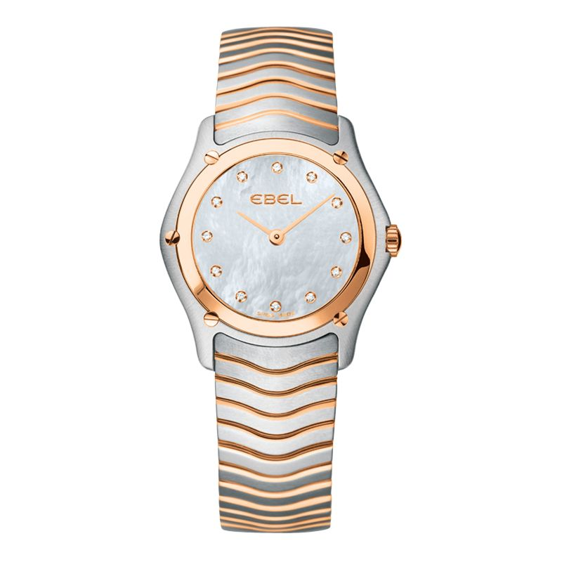 Ebel EBCQBTWT0025 Classic Red Gold Mother of Pearl Diamond Set Dial Bracelet Watch