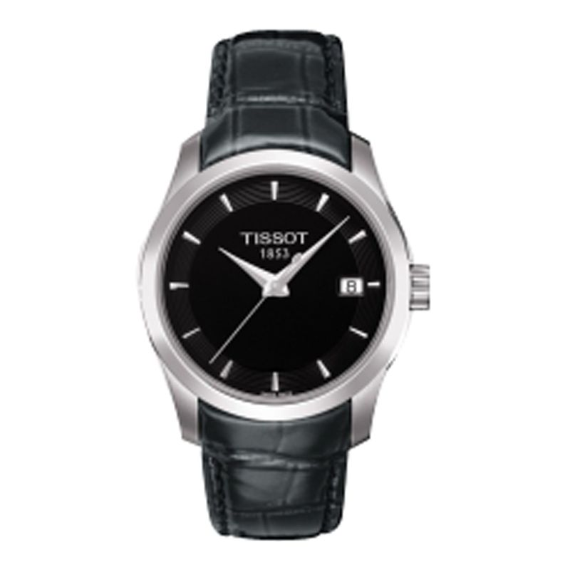 Tissot T0352101605100 Women's Couturier Leather Strap Watch, Black/Silver