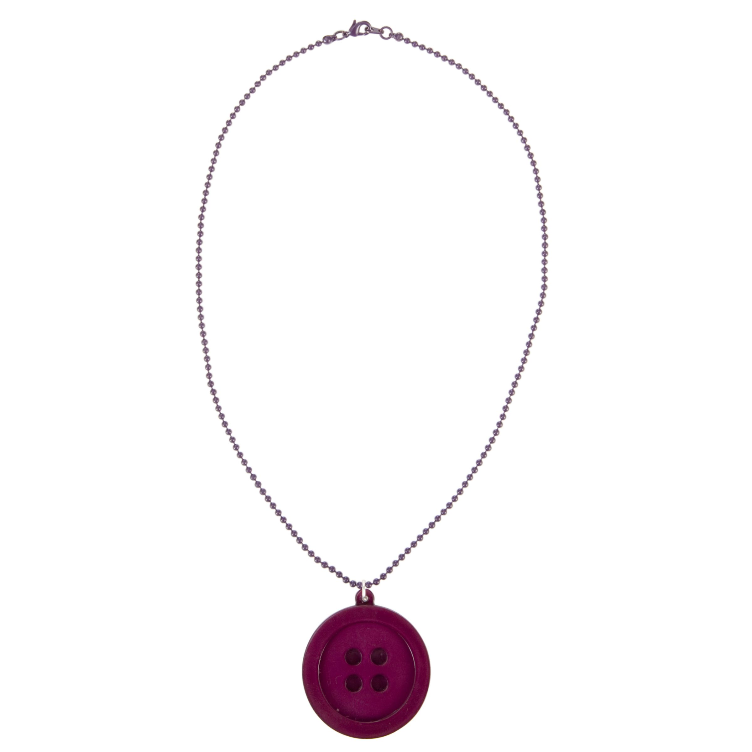 Big Baby Button Pendant Necklace, Purple