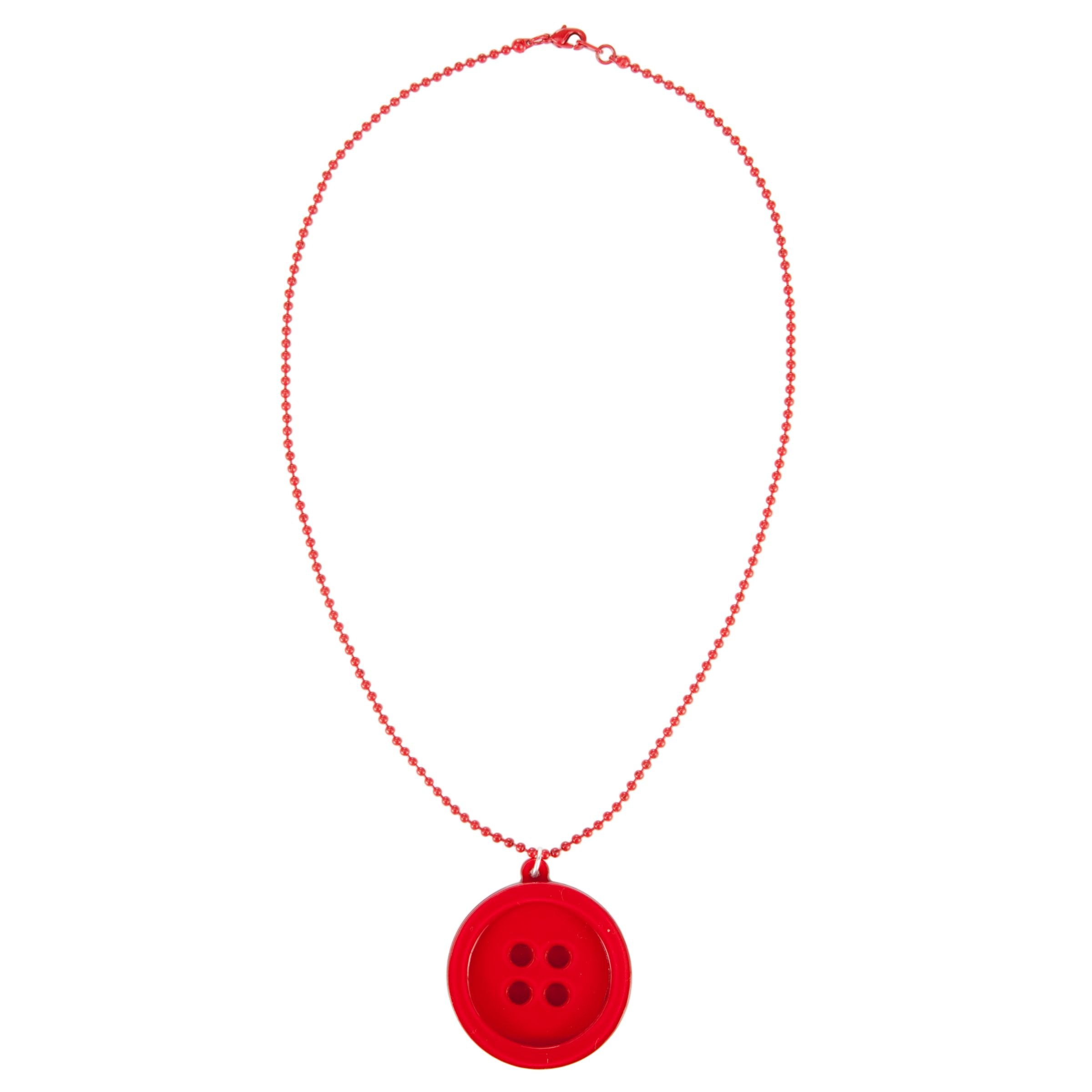 Big Baby Button Pendant Necklace, Red