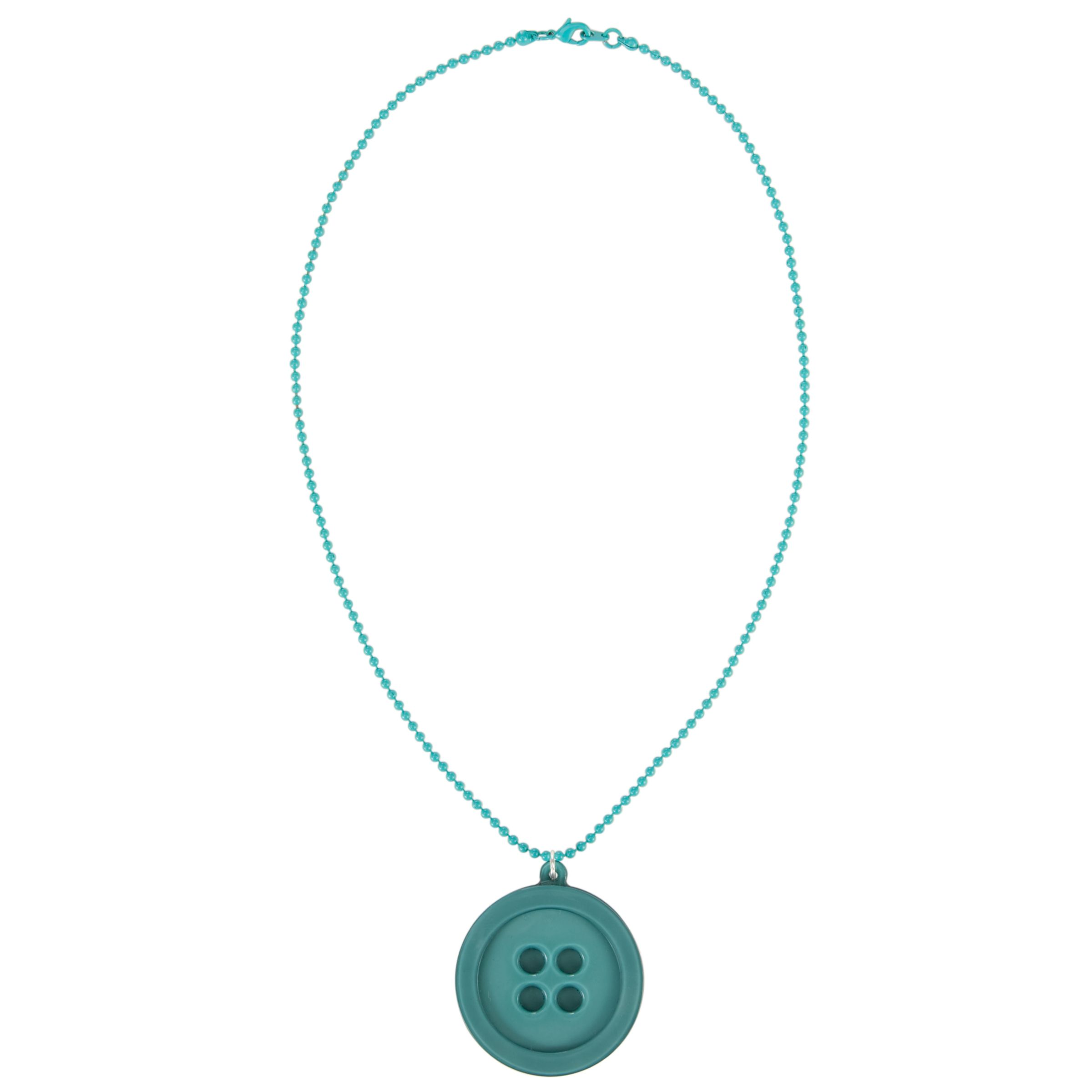 Big Baby Button Pendant Necklace, Teal