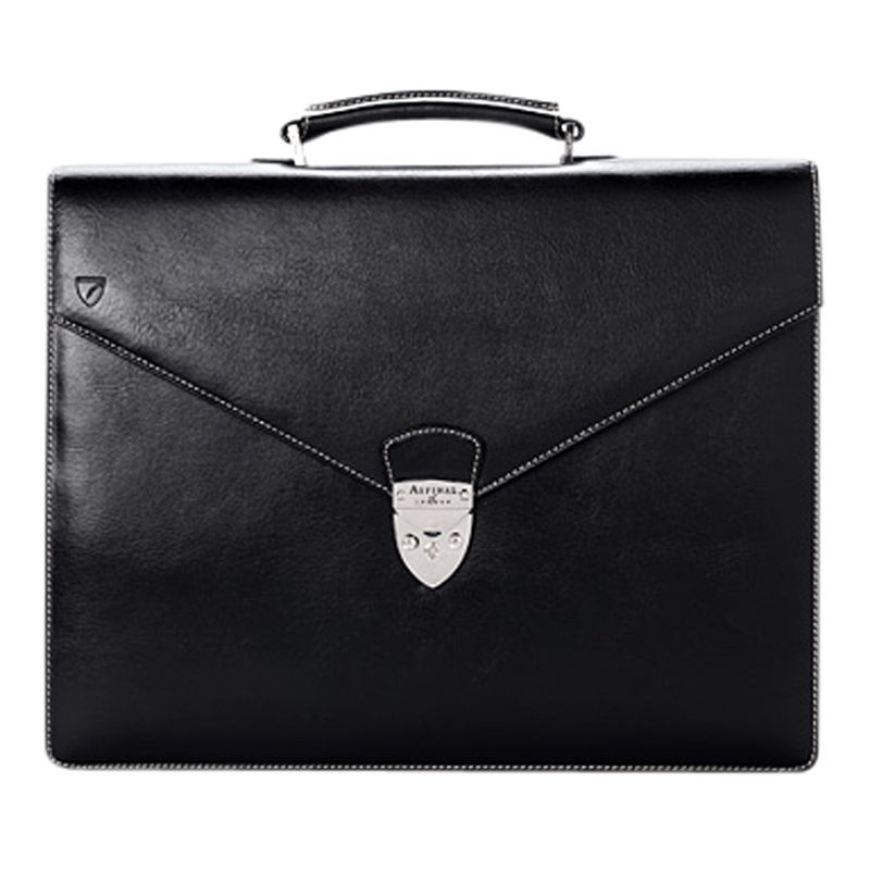 Aspinal of London Leather Executive Laptop Briefcase, Black