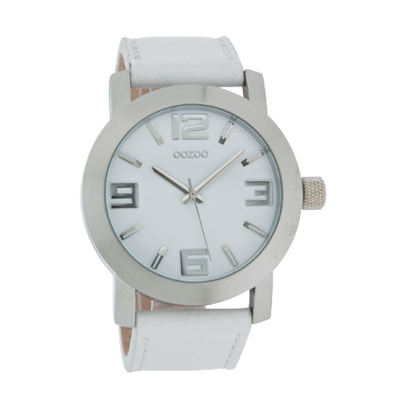 Oozoo C4040 Unisex White Dial Leather Strap Watch