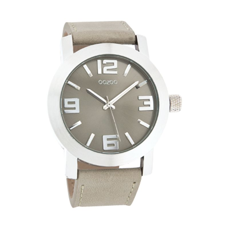 Oozoo C4042 Unisex Beige Round Leather Strap Watch