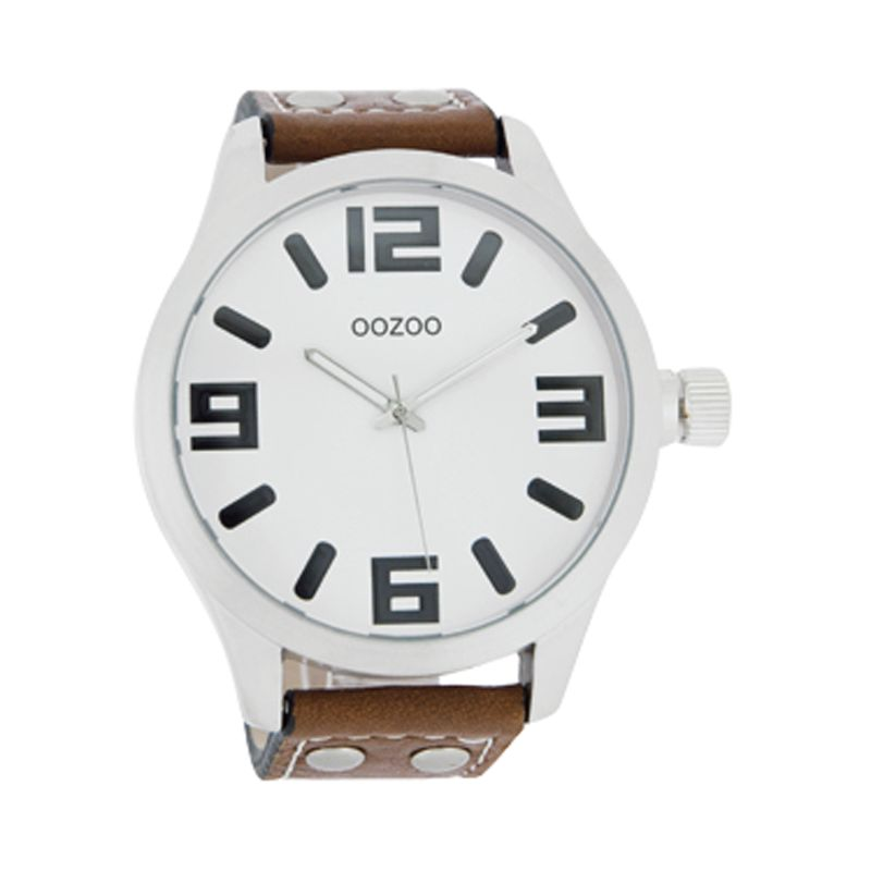 Oozoo C4052 Unisex Round Dial Brown Leather Strap Watch