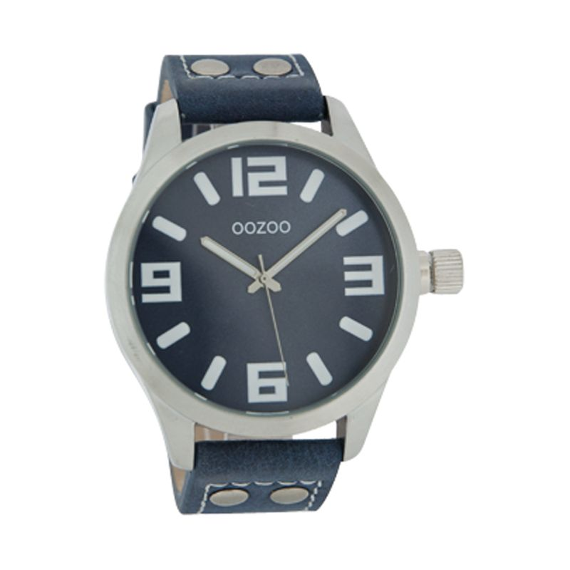 Oozoo C4067 Unisex Blue Round Dial Leather Strap Watch