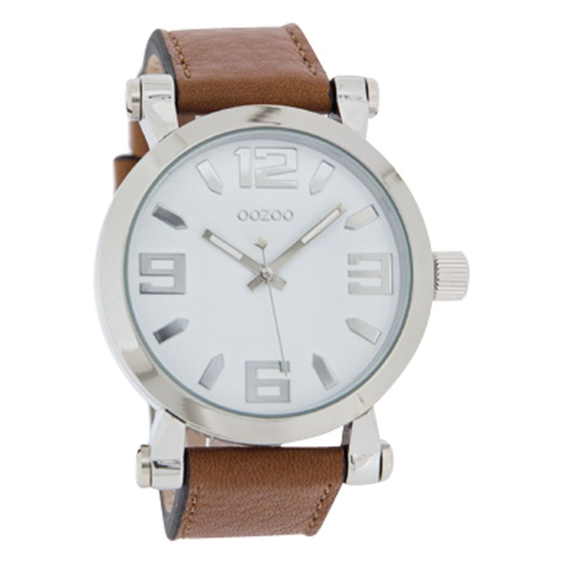 Oozoo C4072 Unisex Round Dial Tan Leather Strap Watch