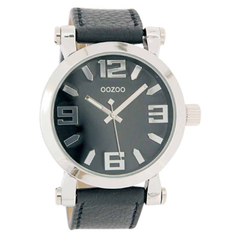 Oozoo C4074 Unisex Black Round Leather Strap Watch