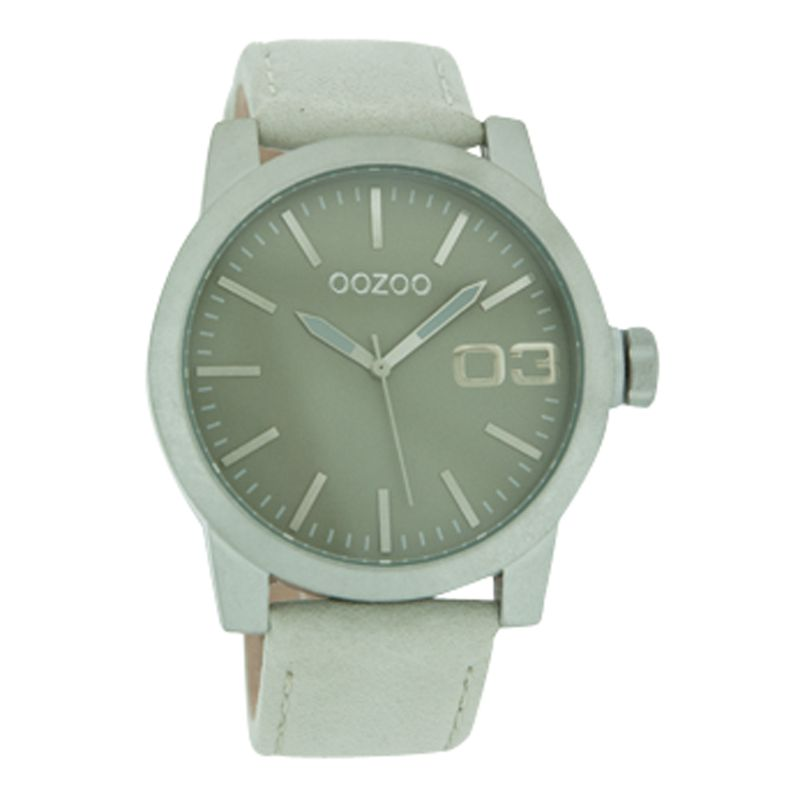 Oozoo C4136 Unisex Grey Round Leather Strap Watch