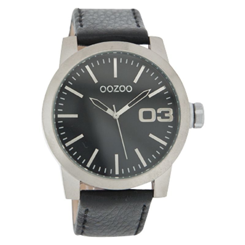 Oozoo C4139 Unisex Black Round Dial Leather Strap Watch