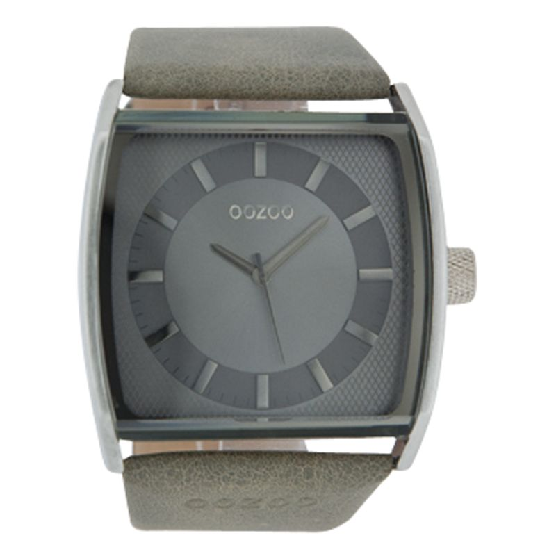 Oozoo C4141 Unisex Grey Square Leather Strap Watch