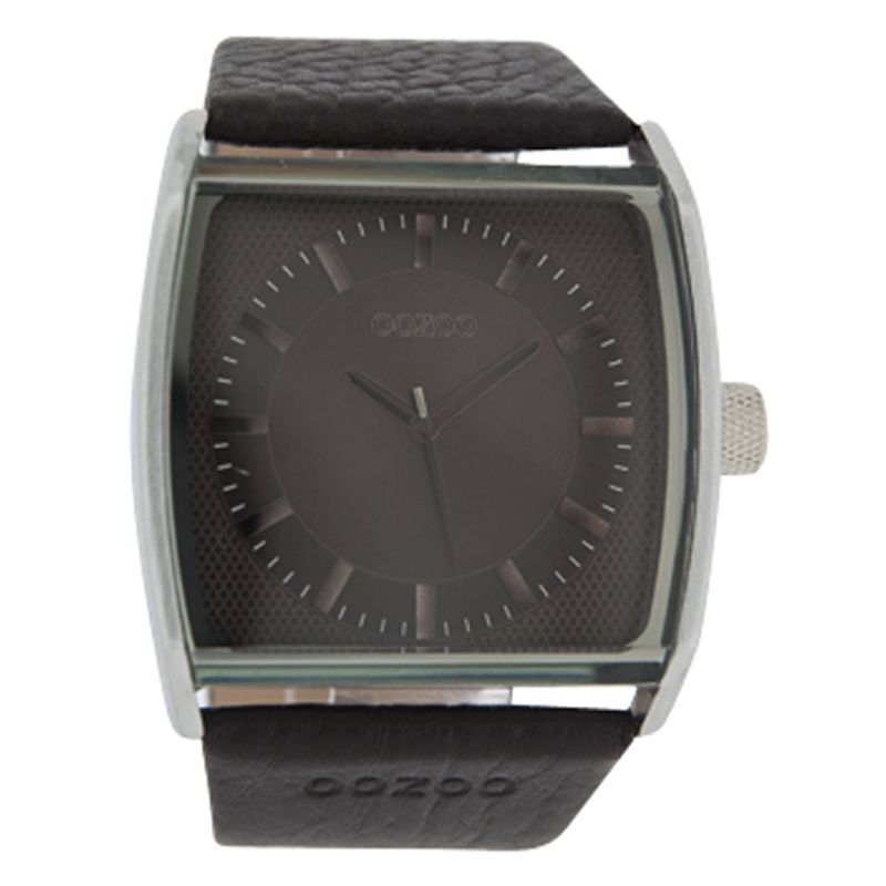 Oozoo C4143 Unisex Black Square Leather Strap Watch