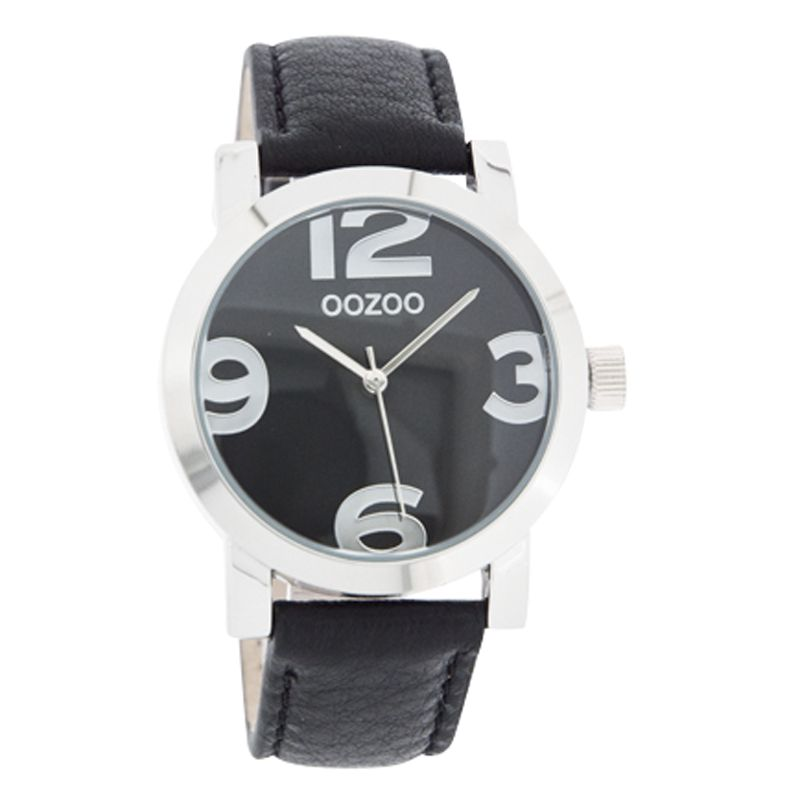 Oozoo C4189 Unisex Black Dial Leather Strap Watch