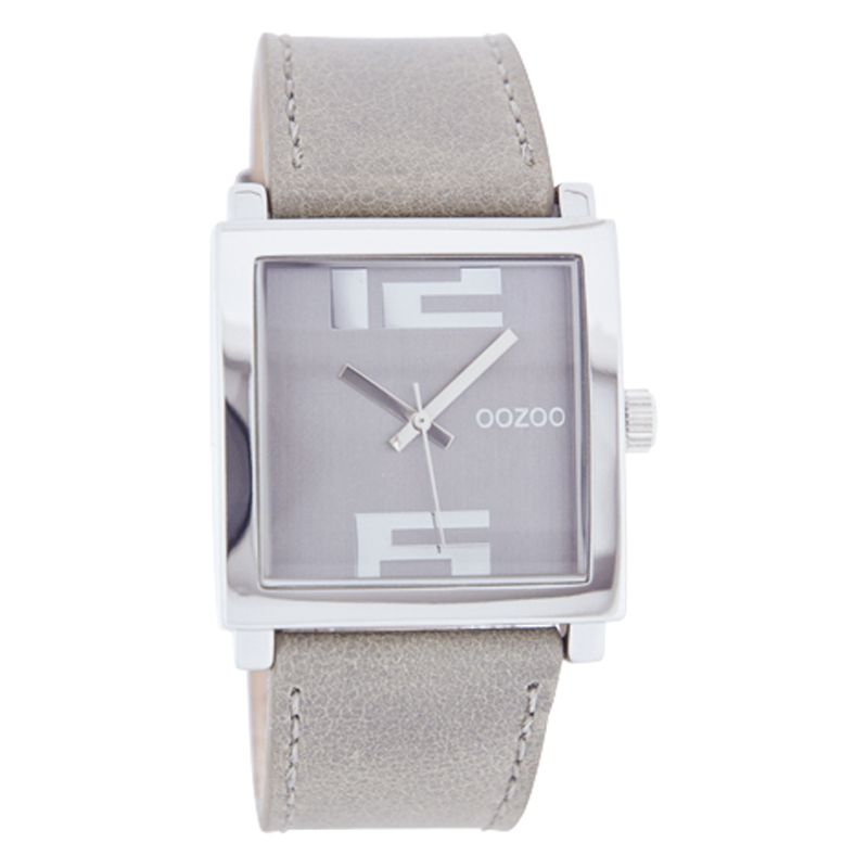 Oozoo C4202 Unisex Pink Square Dial Leather Strap Watch